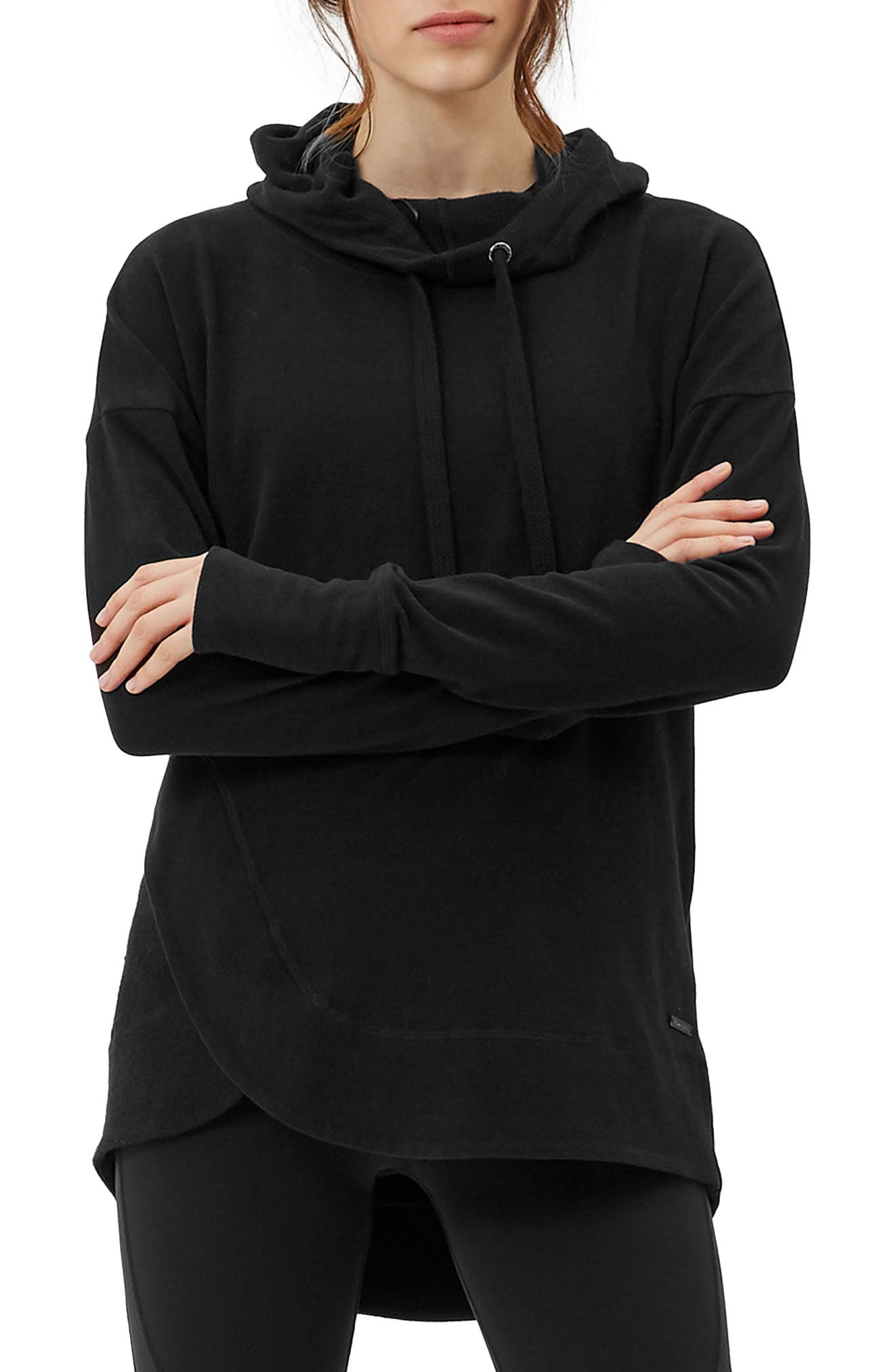 Invigorate Luxe Hoodie,                             Main thumbnail 1, color,                             Black