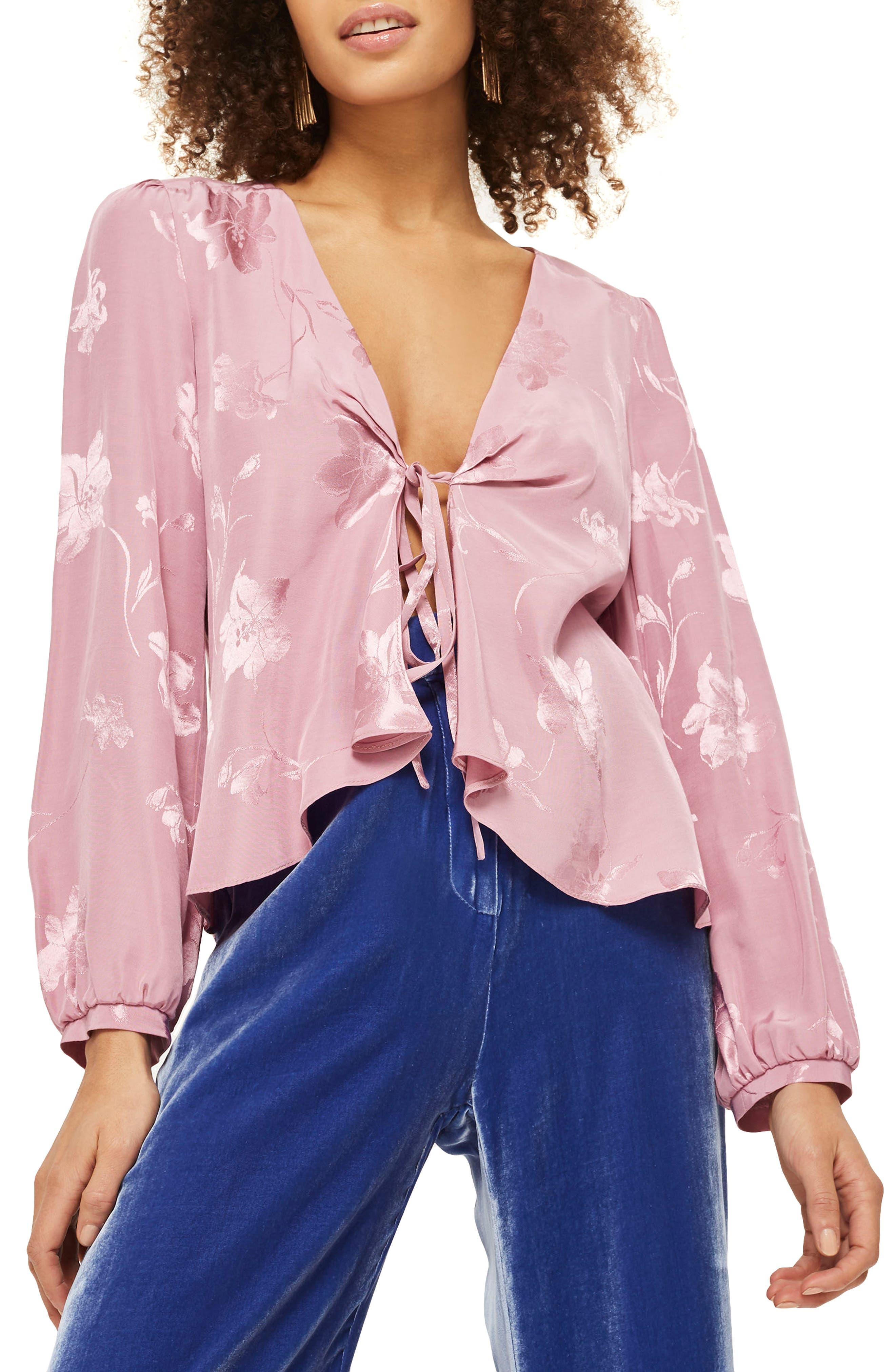Floral Jacquard Blouse,                         Main,                         color, Dusty Pink