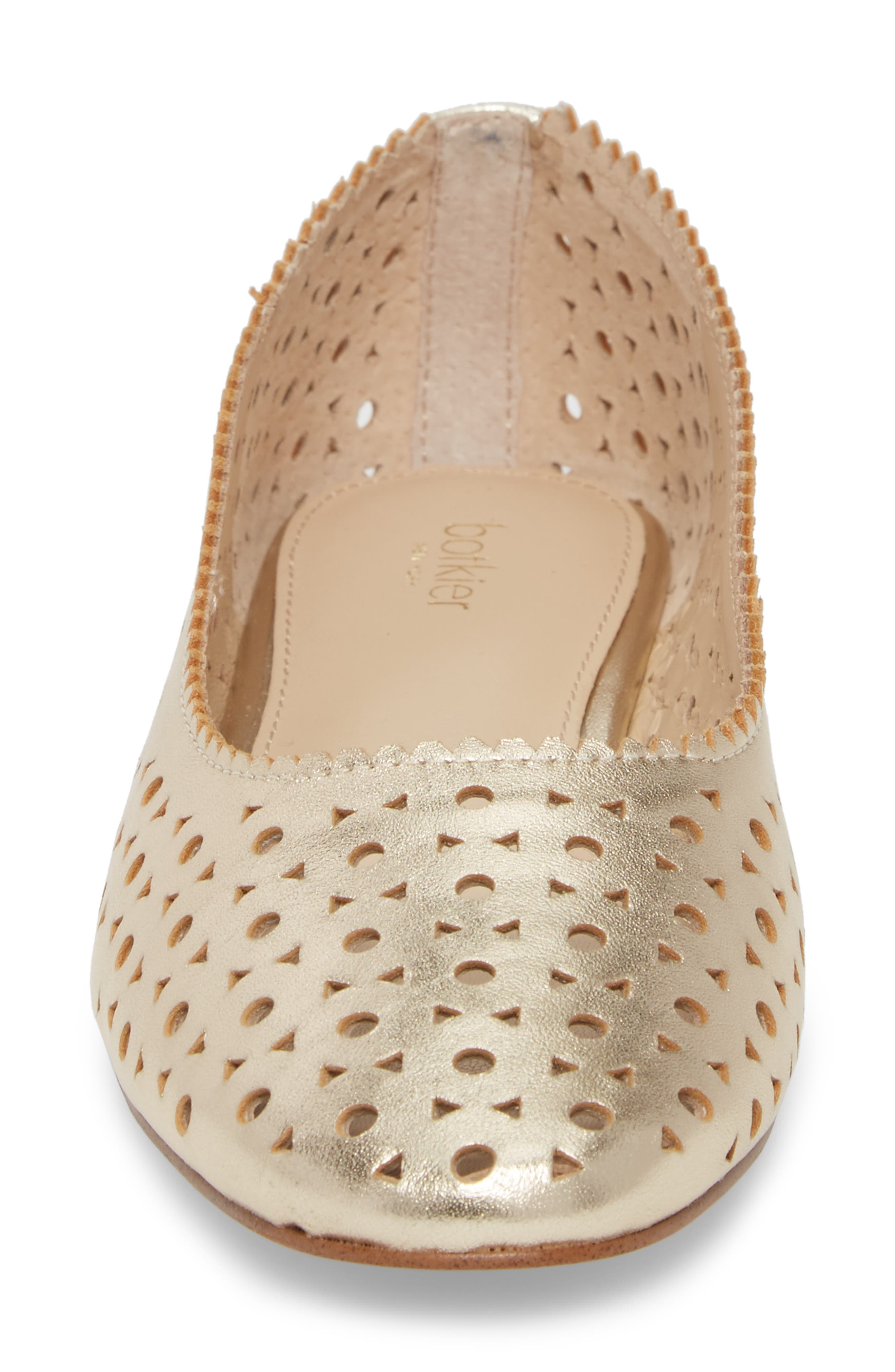 Mandy Flat,                             Alternate thumbnail 4, color,                             Metallic Ivory Leather