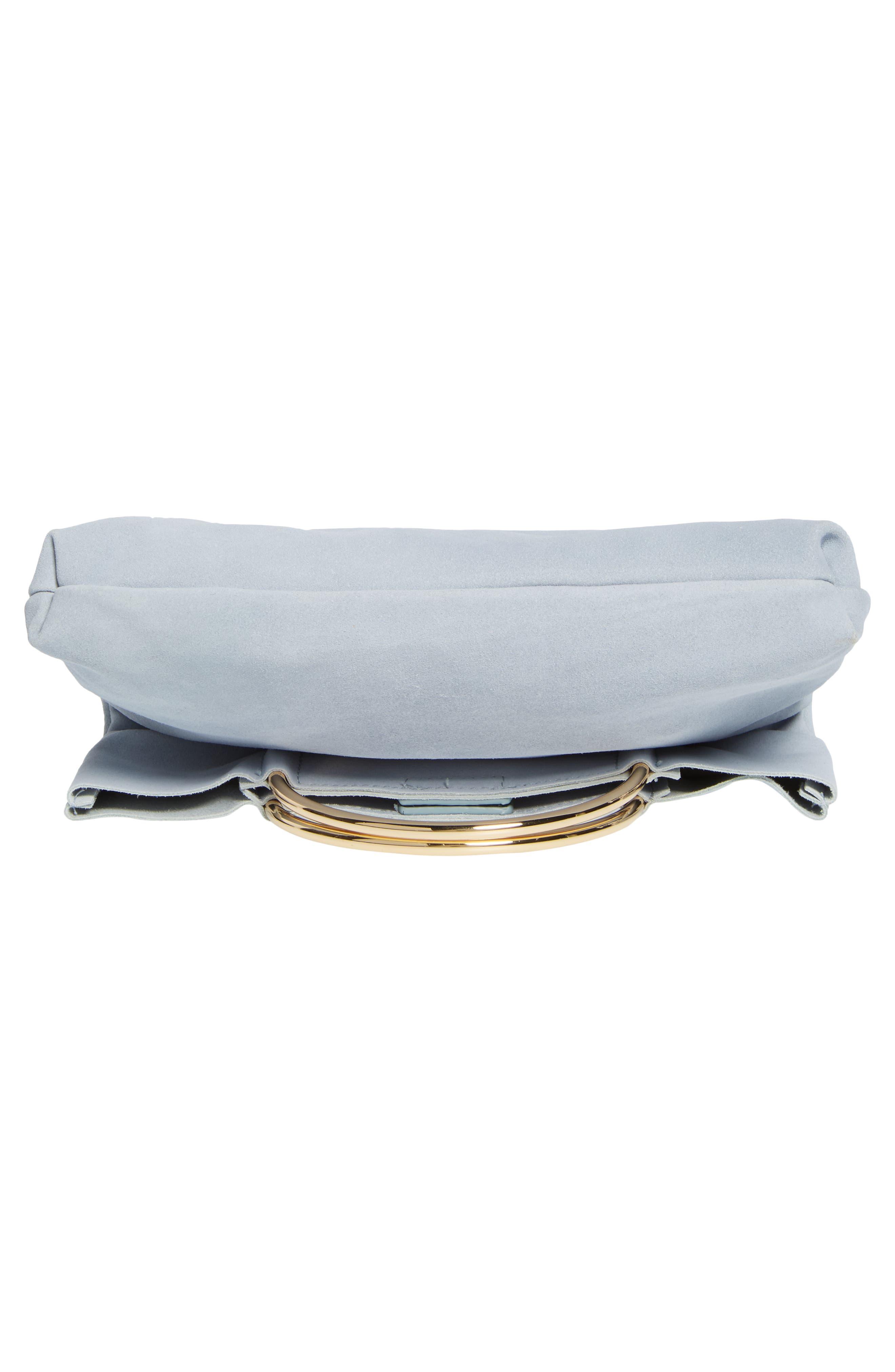 Suede Foldover Clutch,                             Alternate thumbnail 6, color,                             Cloudy Blue