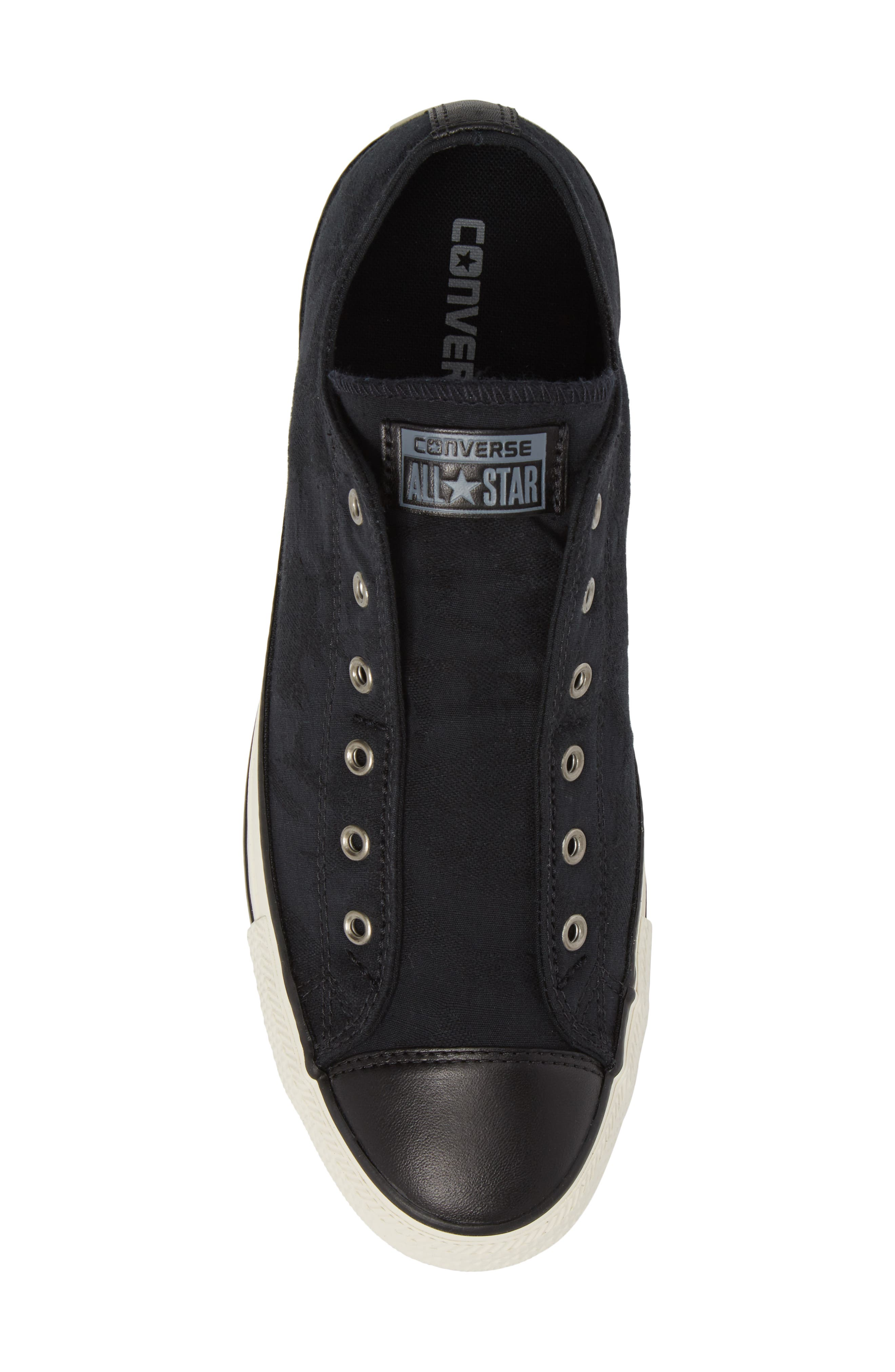 Chuck Taylor<sup>®</sup> All Star<sup>®</sup> Laceless Low Top Sneaker,                             Alternate thumbnail 5, color,                             Black