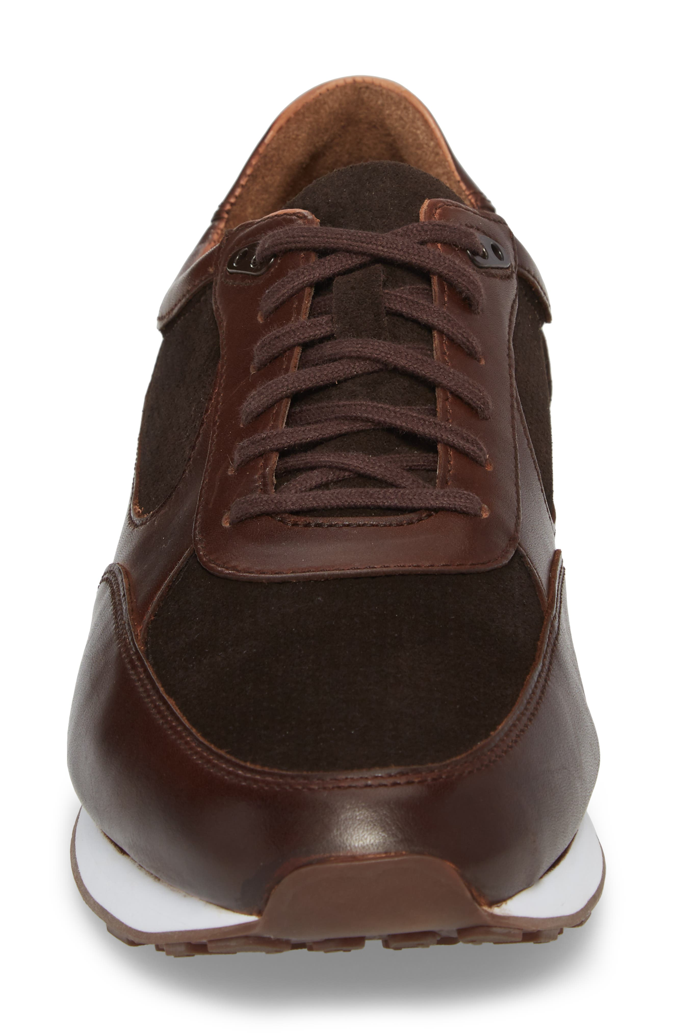 Malek Low Top Sneaker,                             Alternate thumbnail 4, color,                             Mahogany Leather/ Suede