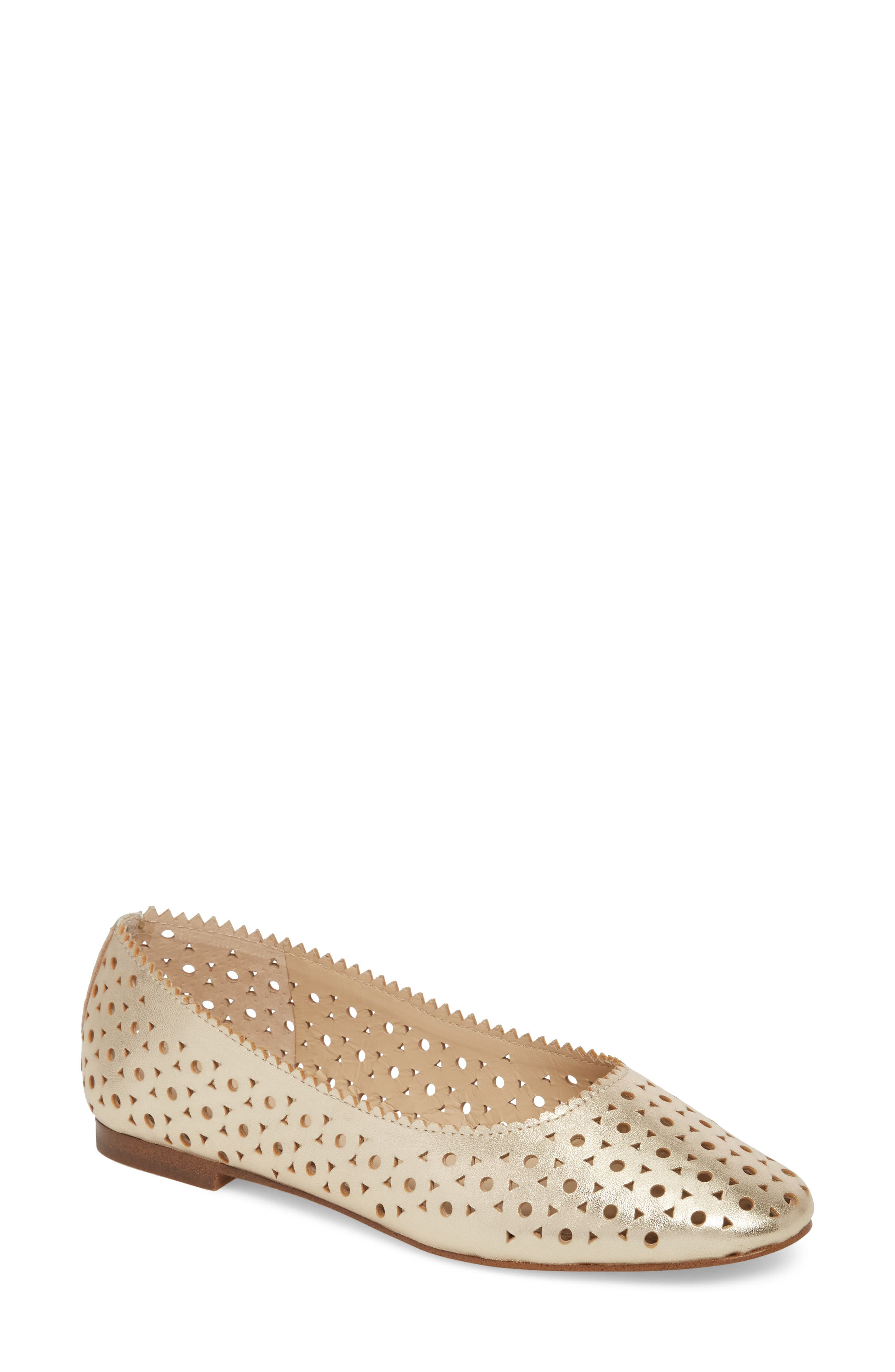 Mandy Flat,                             Main thumbnail 1, color,                             Metallic Ivory Leather