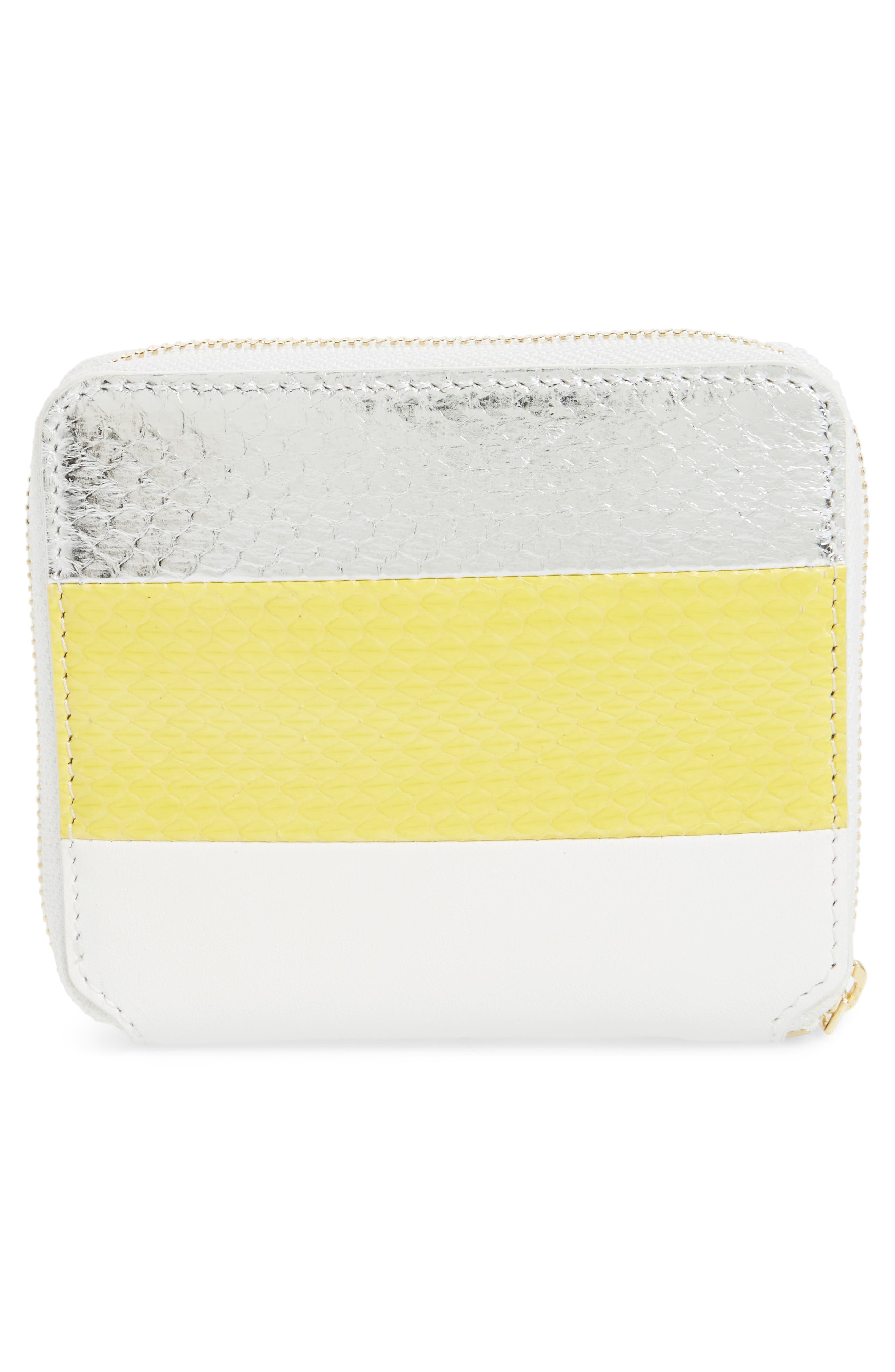 Small Leather & Genuine Snakeskin Zip Wallet,                             Alternate thumbnail 4, color,                             Yellow/ Silver/ White