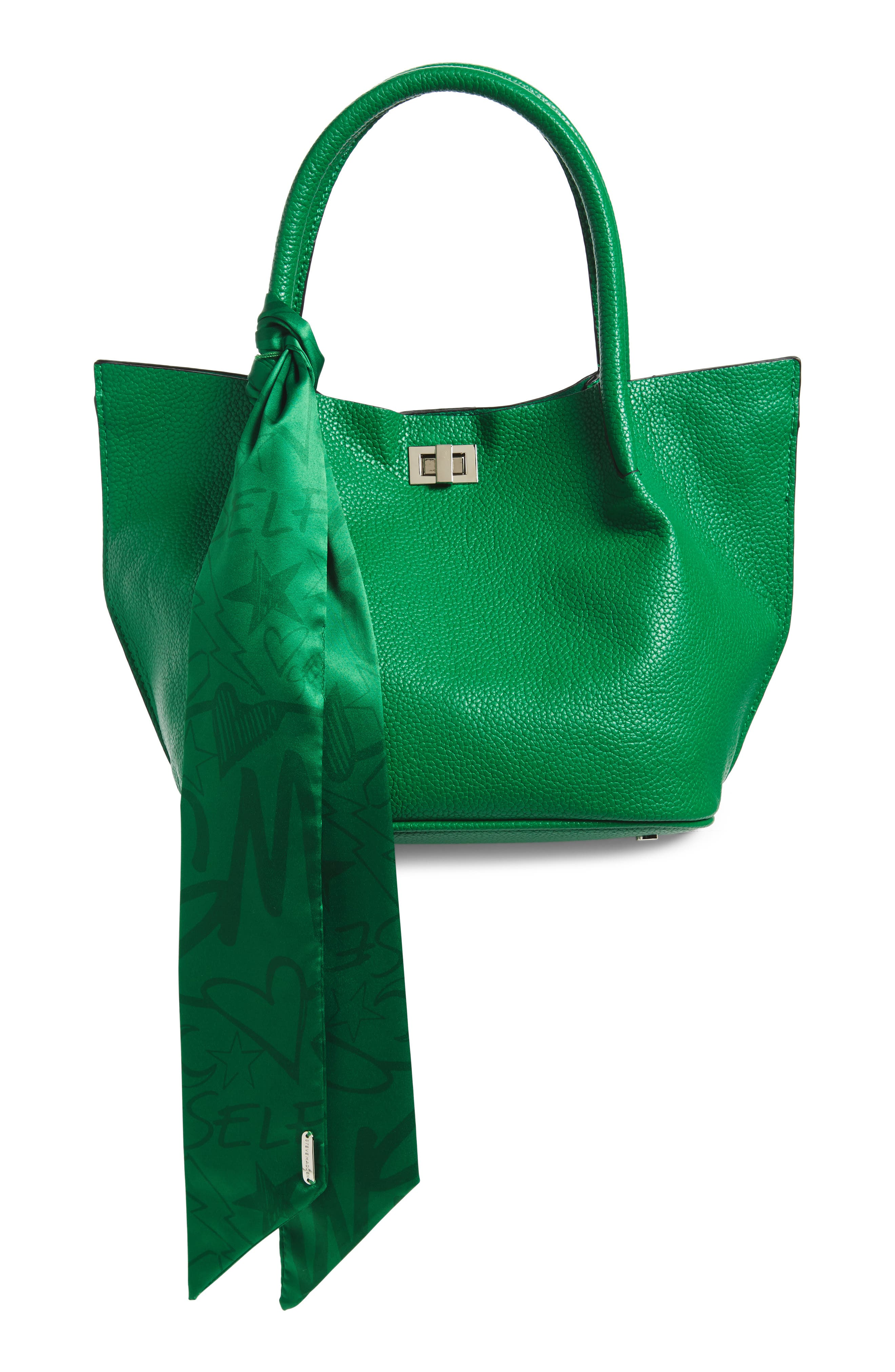 Medium Faux Leather Satchel with Scarf,                         Main,                         color, Green