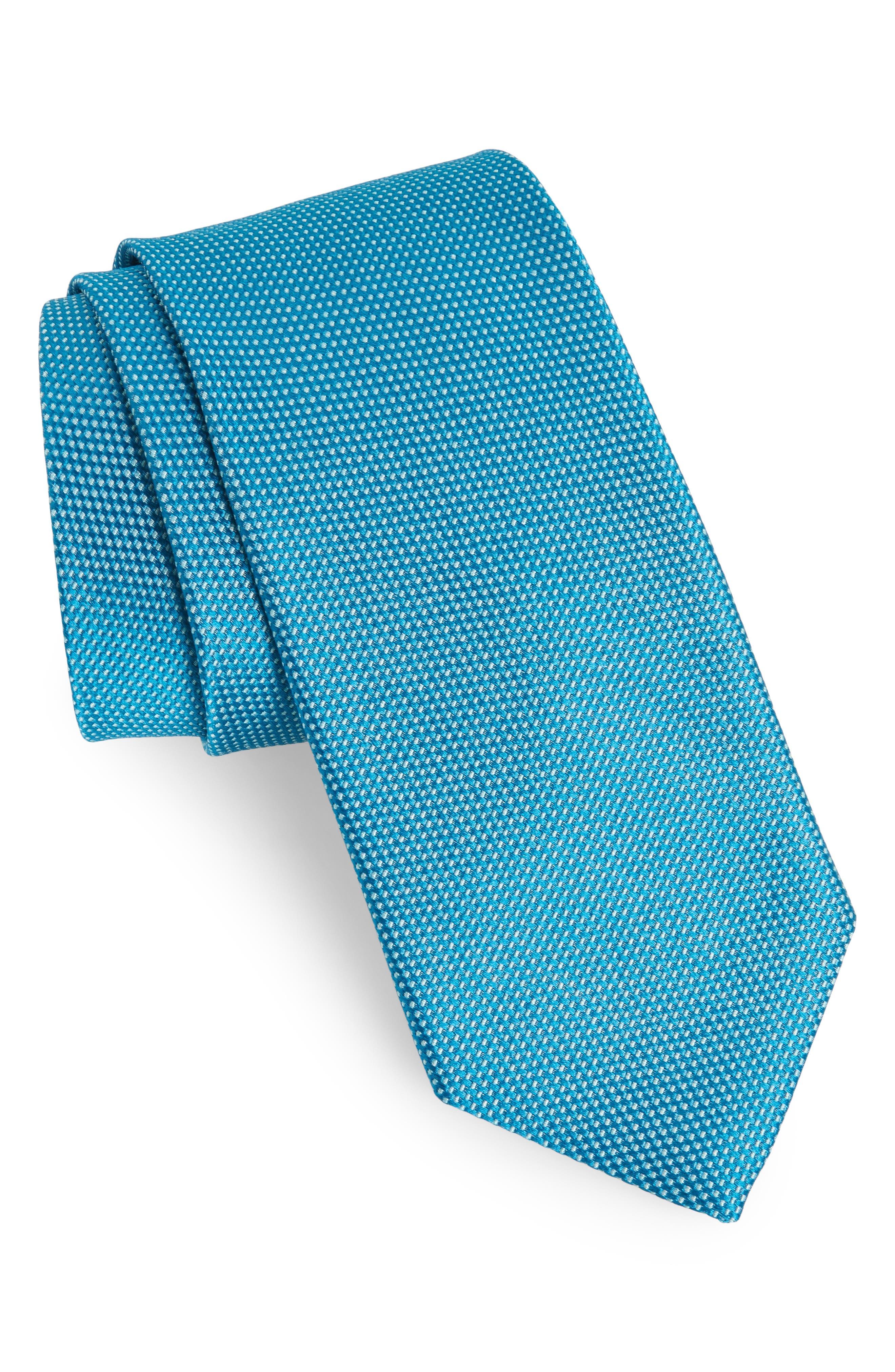 Solid Silk Tie,                         Main,                         color, Scuba Blue