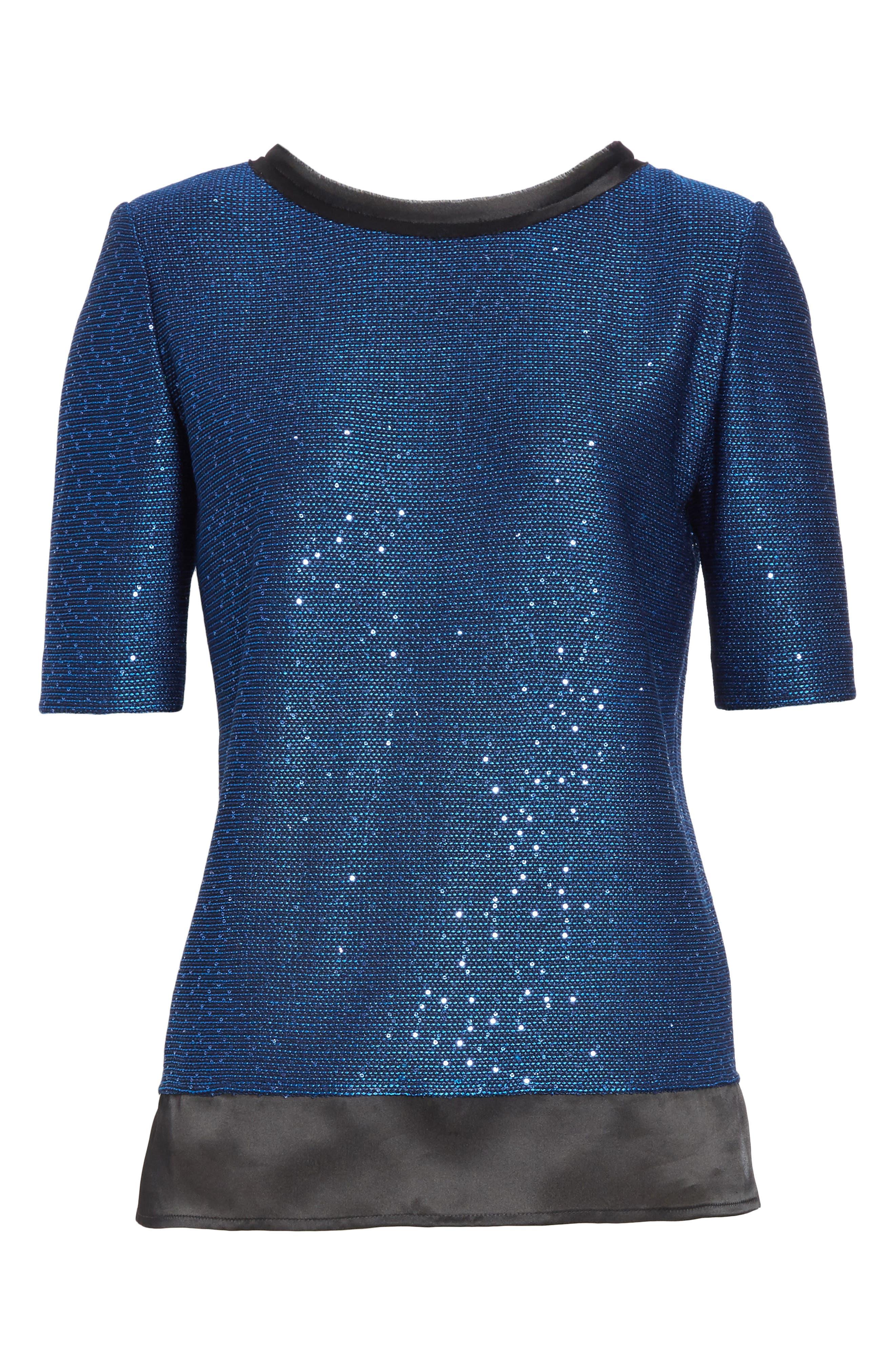 Paillette Knit Top,                             Alternate thumbnail 6, color,                             Cobalt Multi