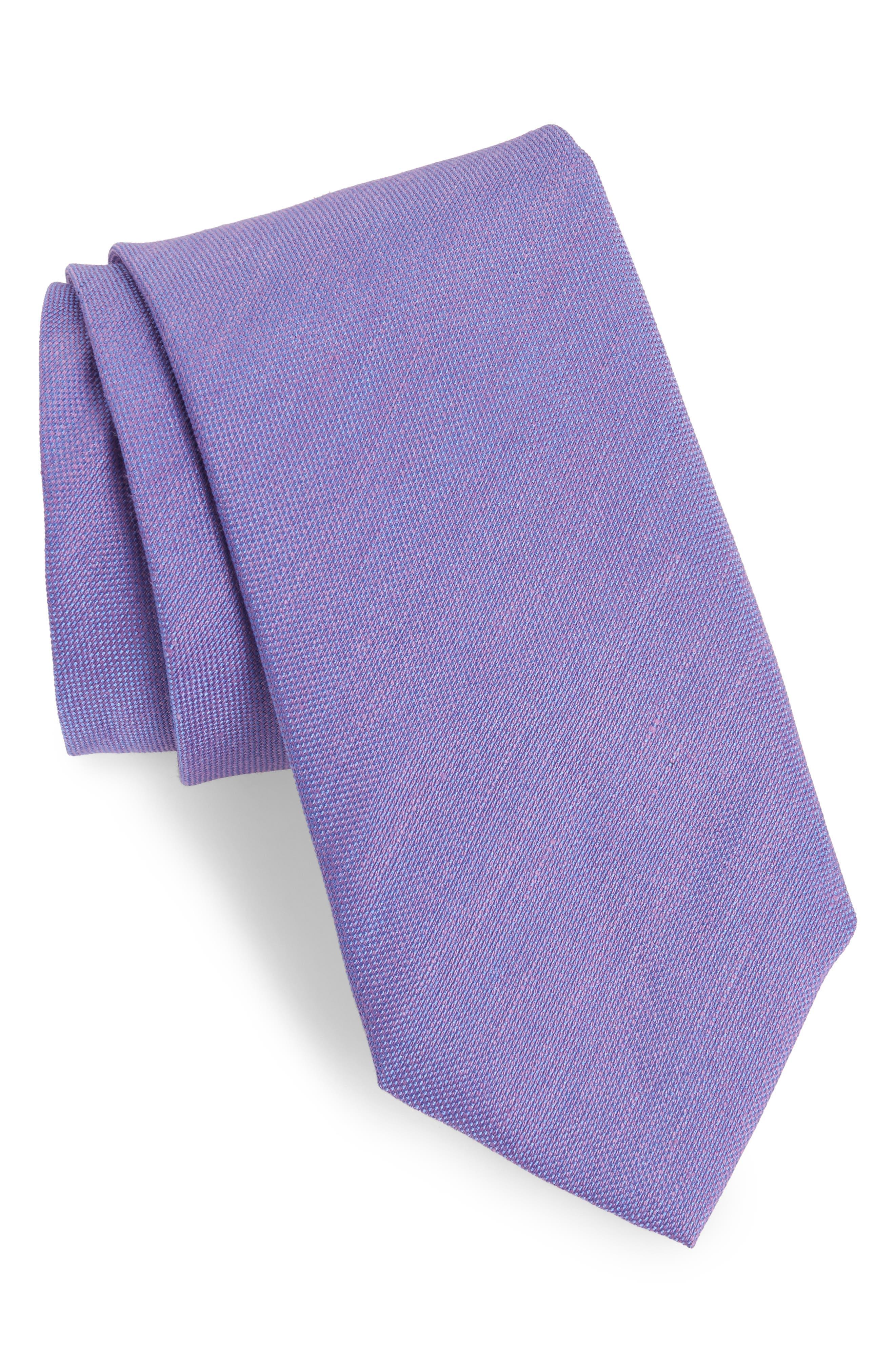 David Donahue Solid Linen & Silk Tie