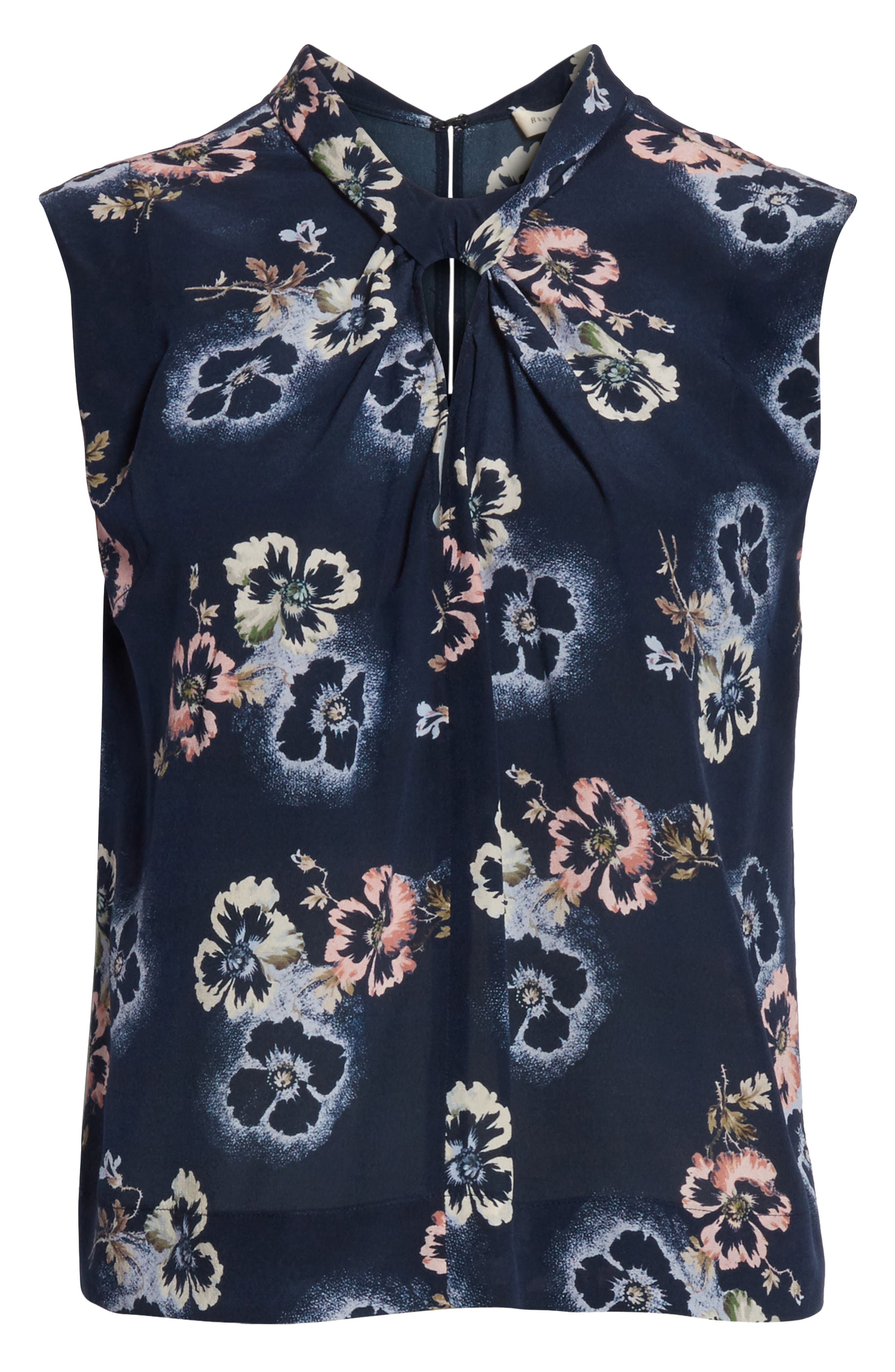 Floral Knotted Silk Top,                             Alternate thumbnail 6, color,                             Navy