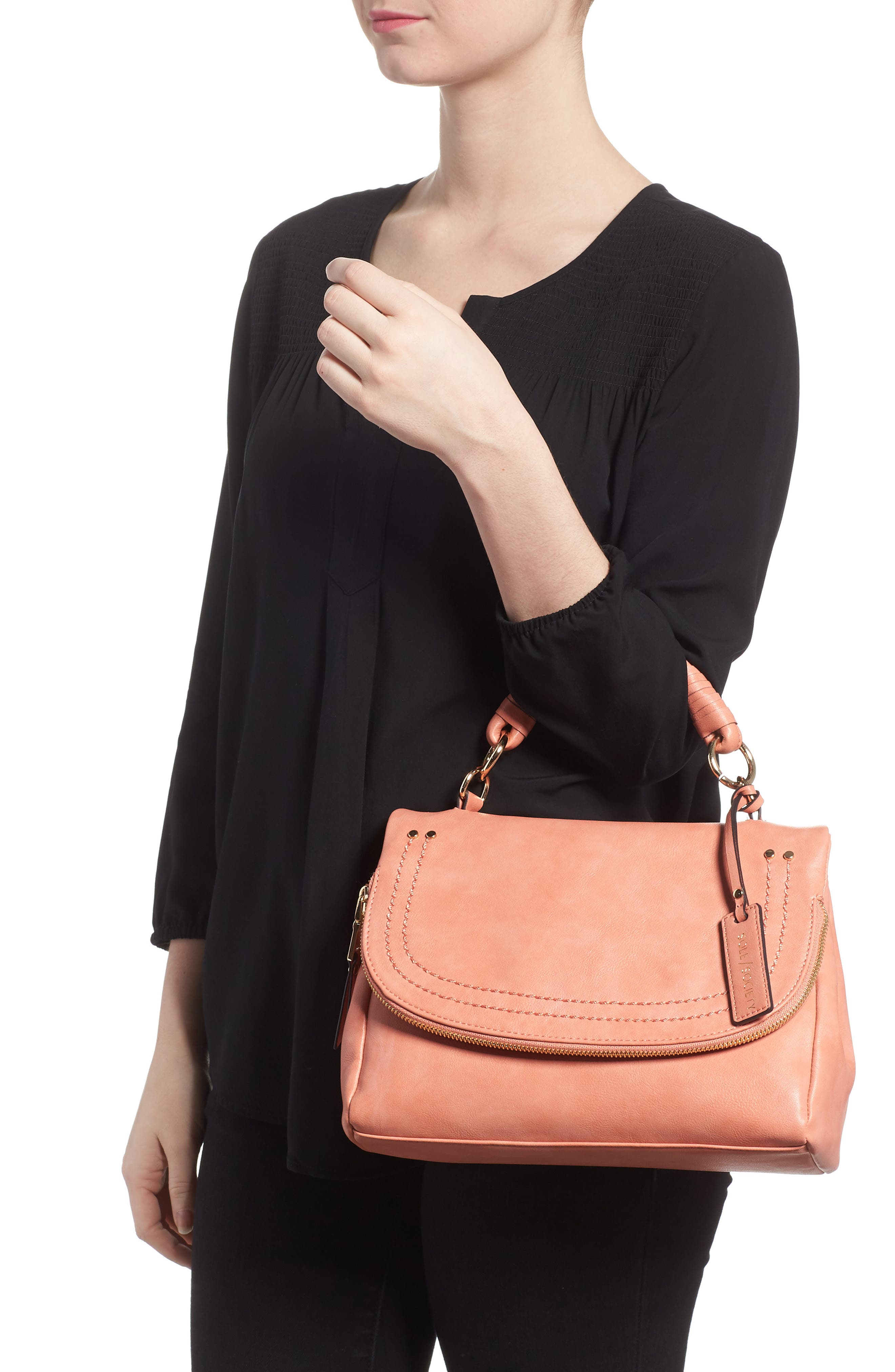 Top Handle Faux Leather Crossbody Bag,                             Alternate thumbnail 2, color,                             Deep Coral
