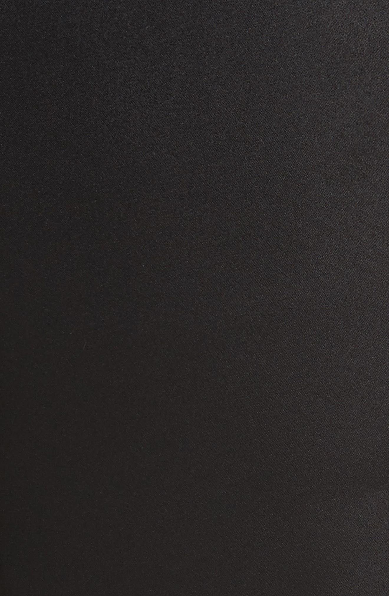 Lace Trim Satin Shorts,                             Alternate thumbnail 5, color,                             Black