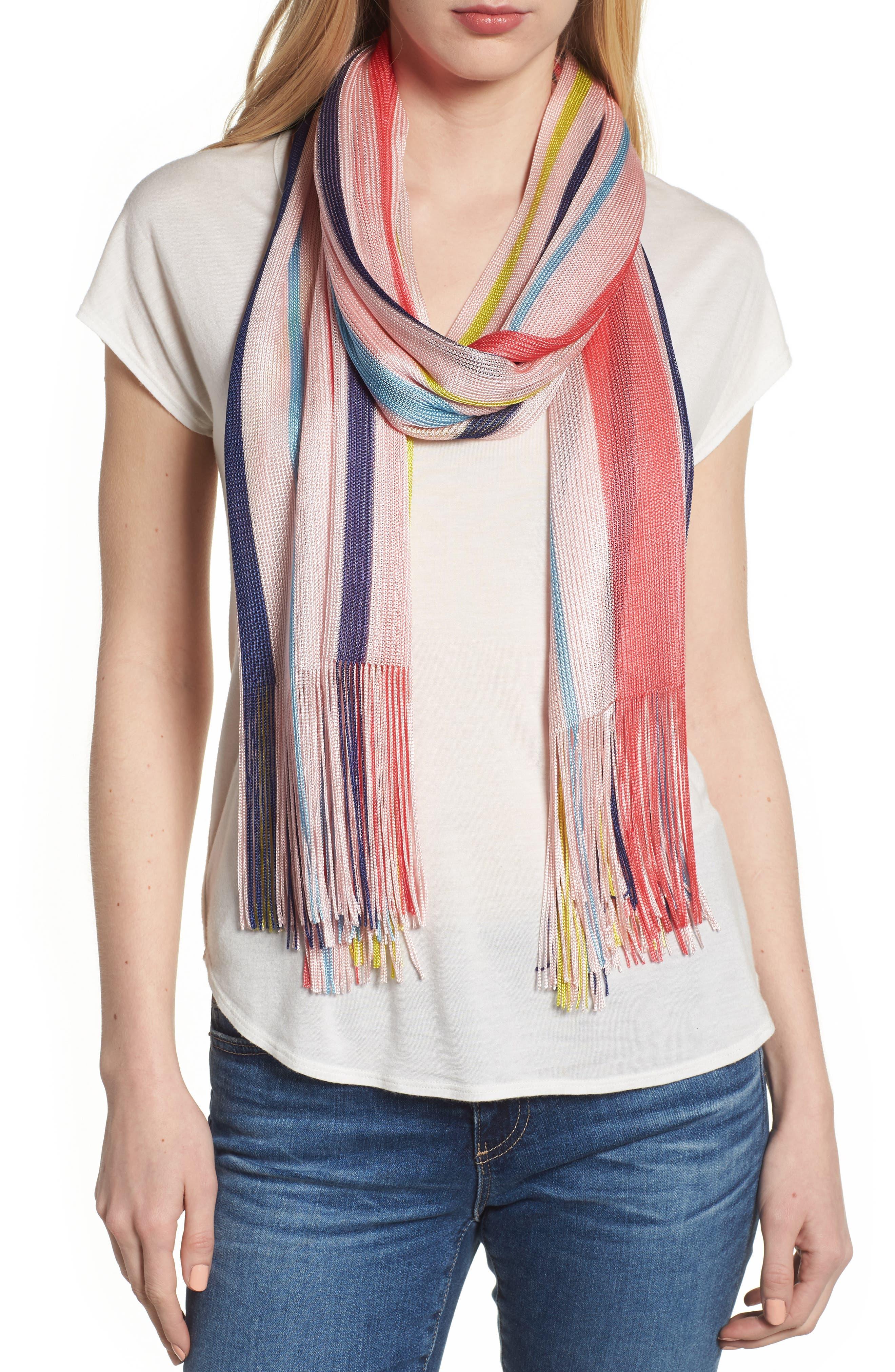 Cabana Stripe Silk Scarf,                             Main thumbnail 1, color,                             Rose Pink