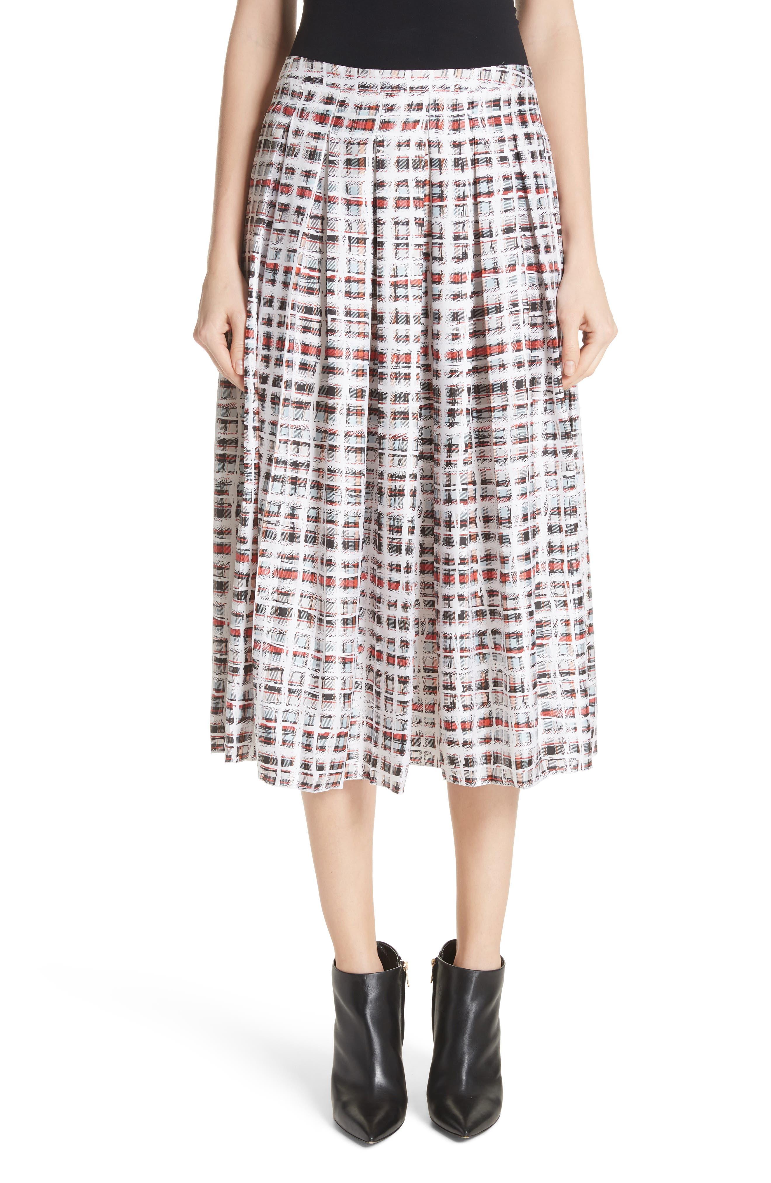 Burberry Farnborough Pleated Check Silk Midi Skirt