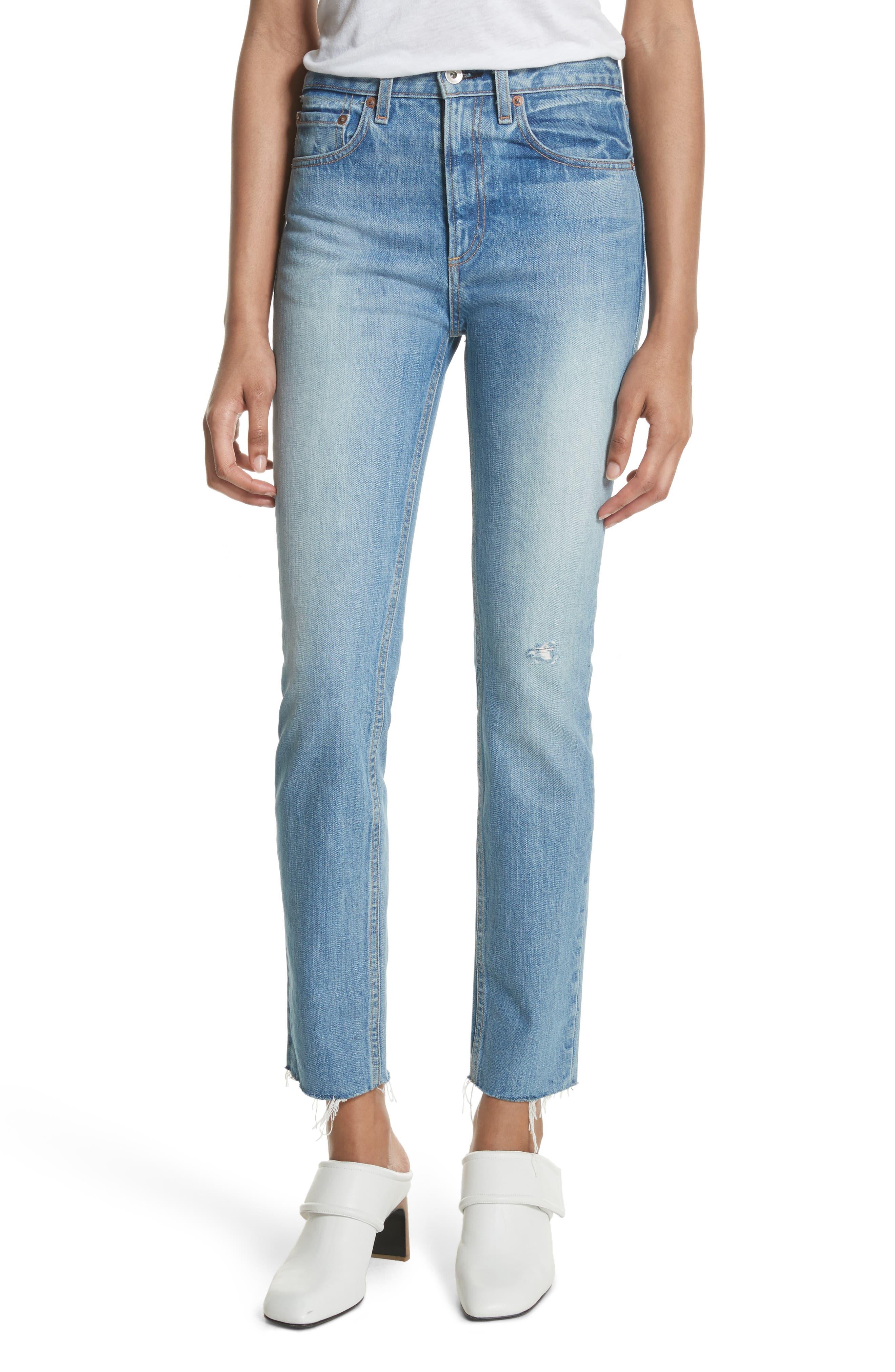 High Waist Ankle Skinny Jeans,                             Main thumbnail 1, color,                             Helena