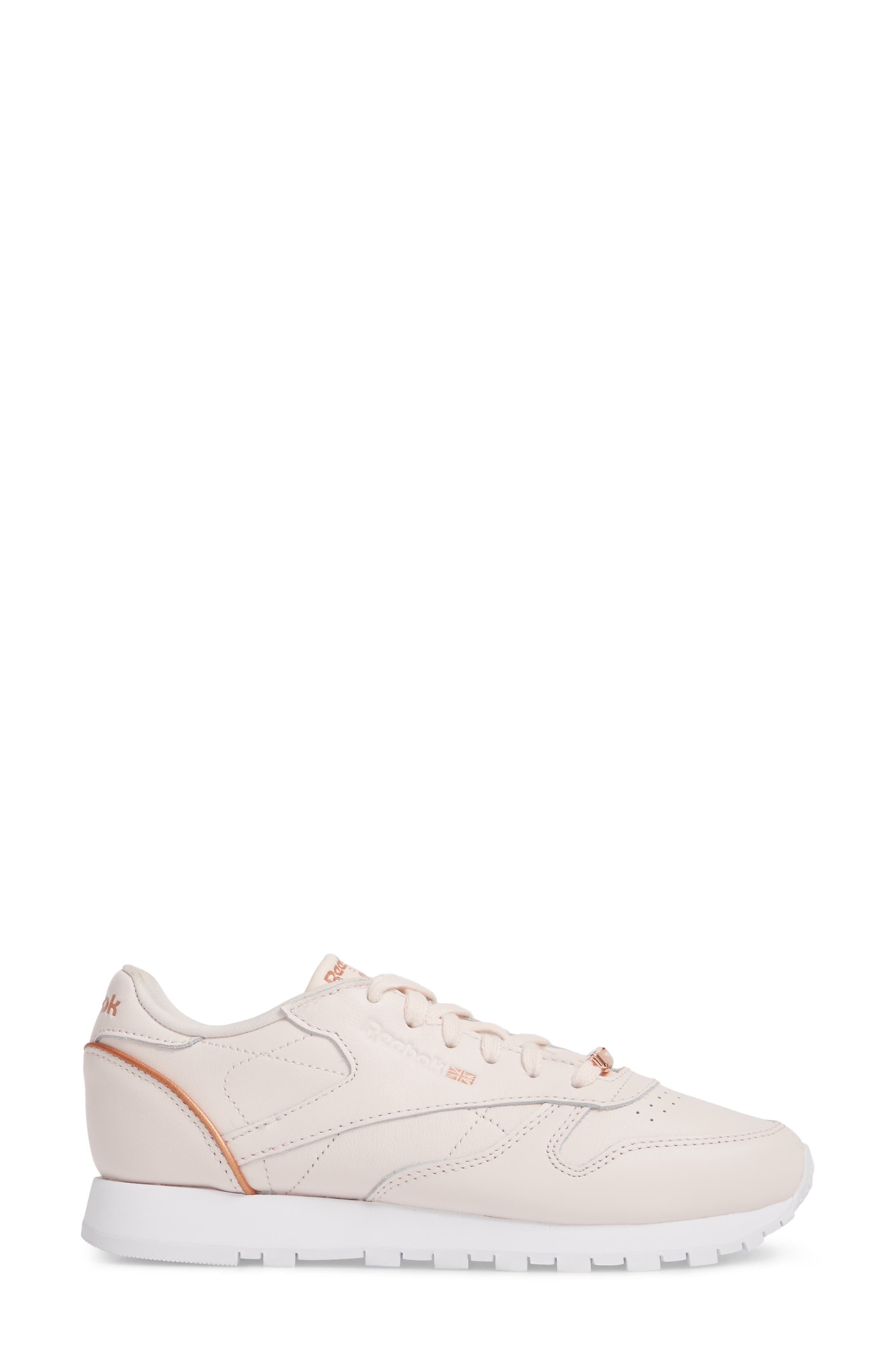 Classic Leather HW Sneaker,                             Alternate thumbnail 3, color,                             Pale Pink/ White/ Rose Gold