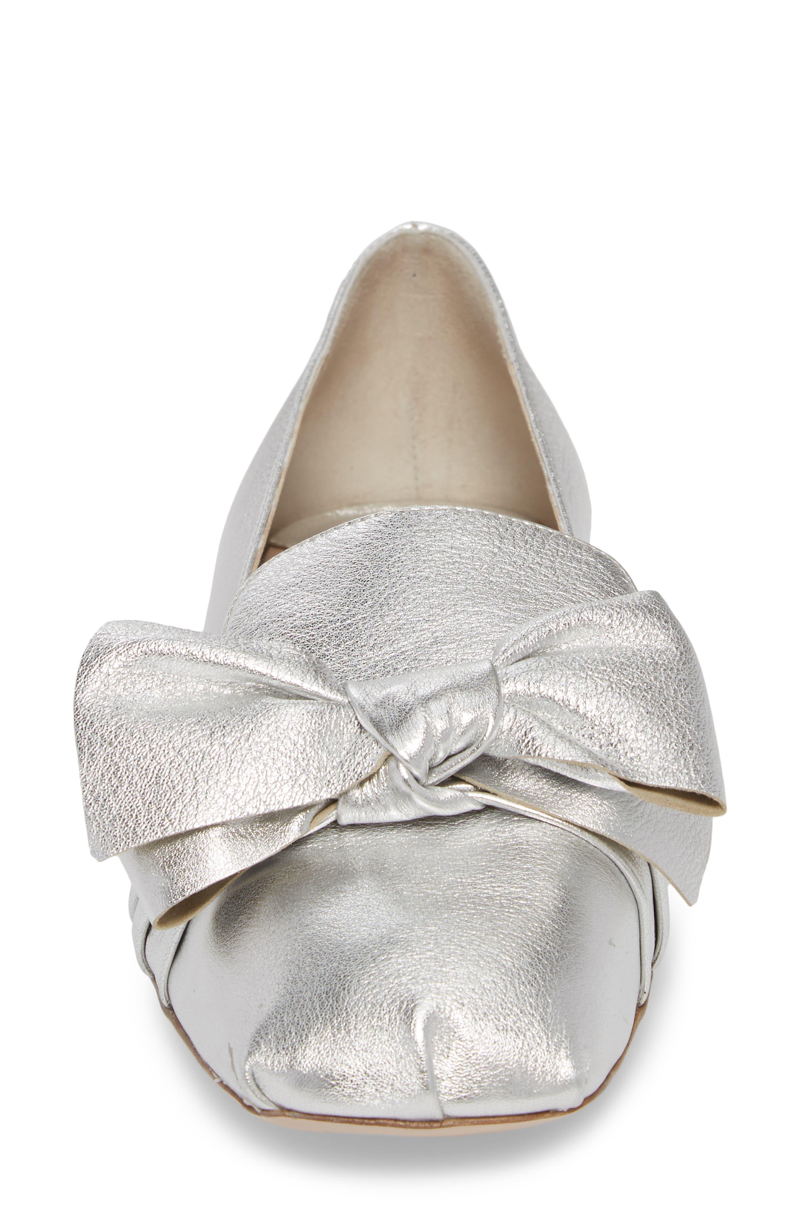 Embellished Heel Bow Loafer,                             Alternate thumbnail 4, color,                             Silver