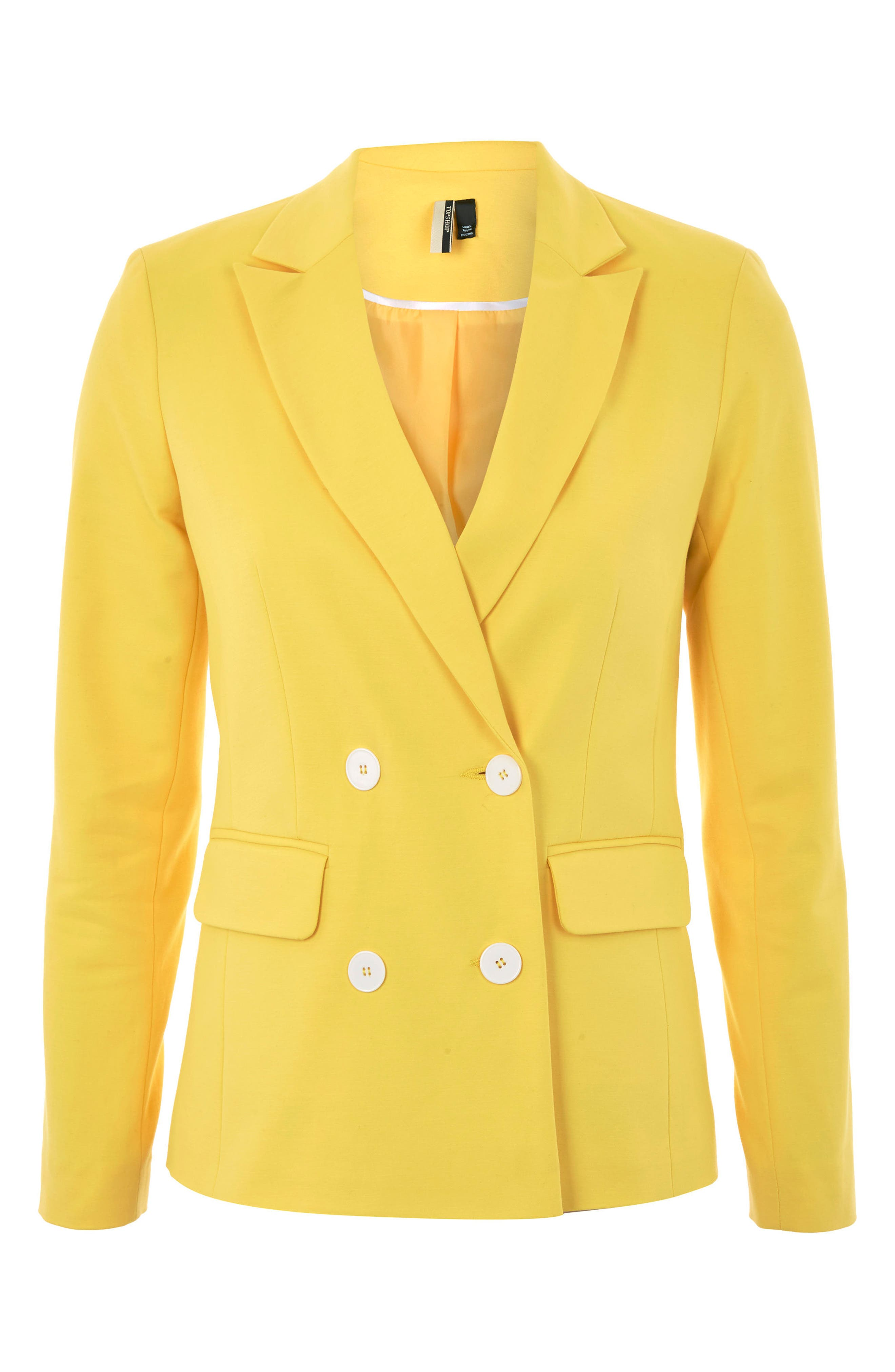Milly Double Breasted Suit Jacket,                             Alternate thumbnail 4, color,                             Yellow