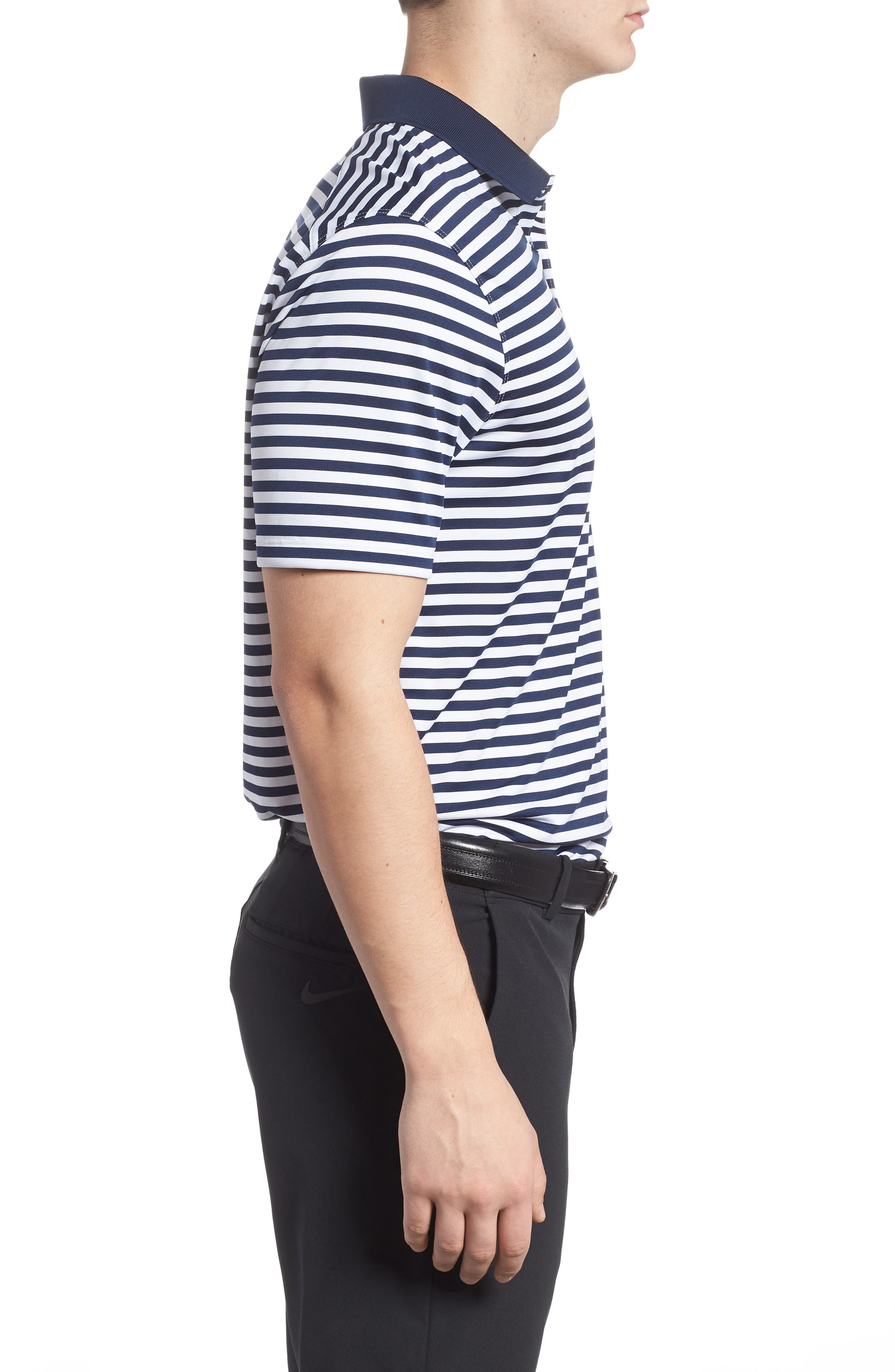 Dry Victory Stripe Golf Polo,                             Alternate thumbnail 3, color,                             College Navy/ White/ Black