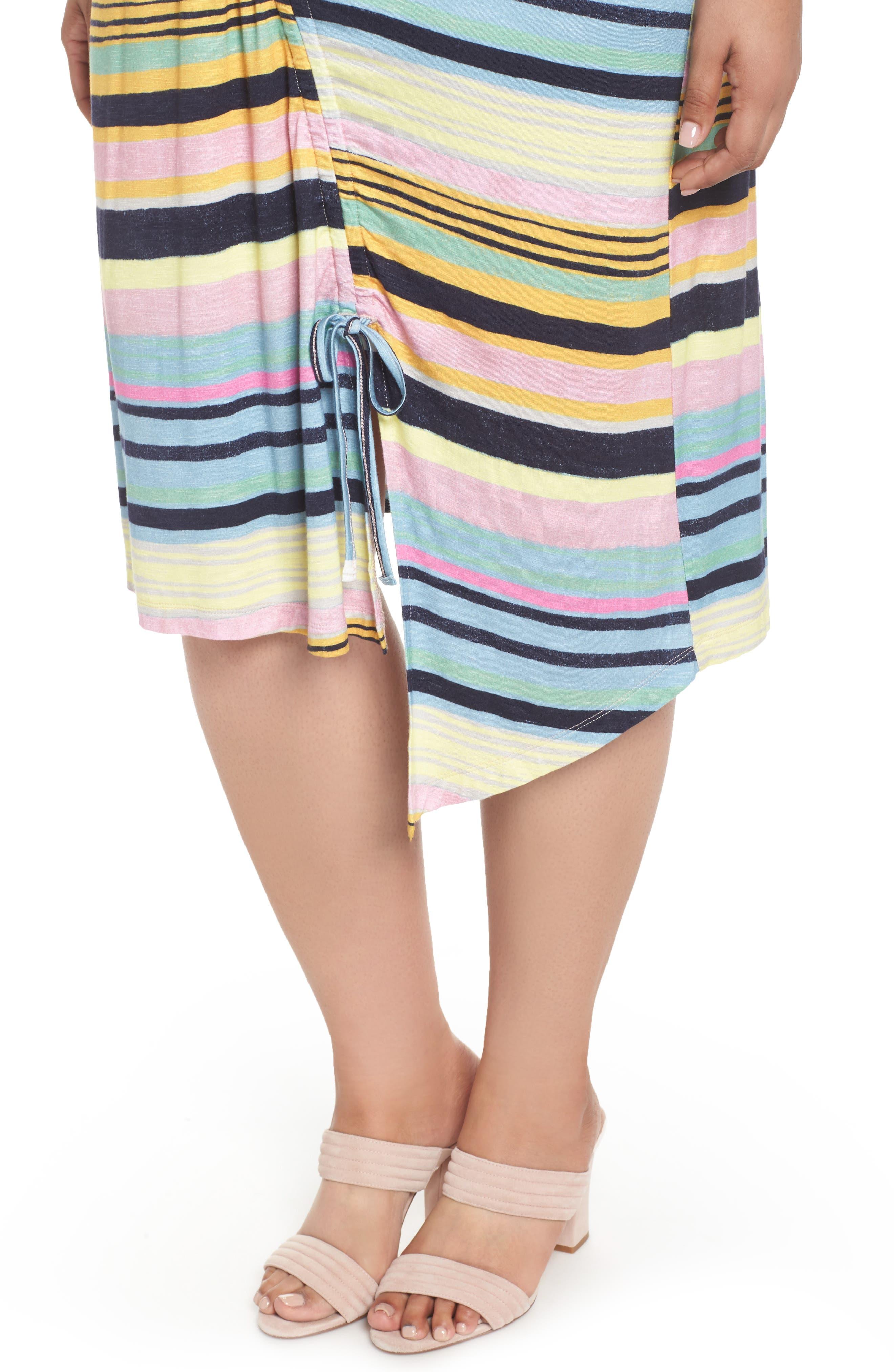 Asymmetrical Cinched Stripe Dress,                             Alternate thumbnail 4, color,                             Navy Combo