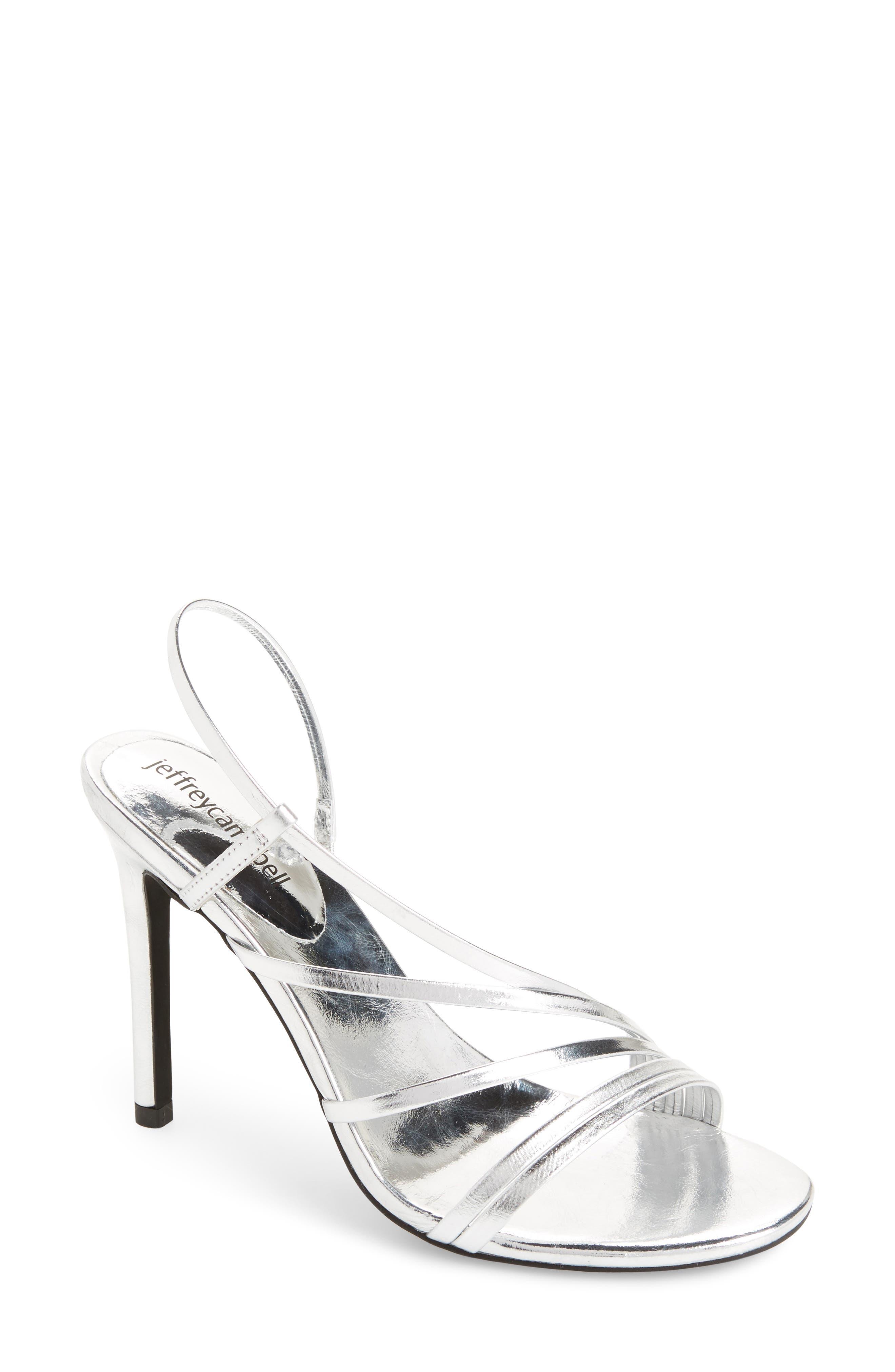 Lilian Asymmetrical Strappy Sandal,                             Main thumbnail 1, color,                             Silver Leather