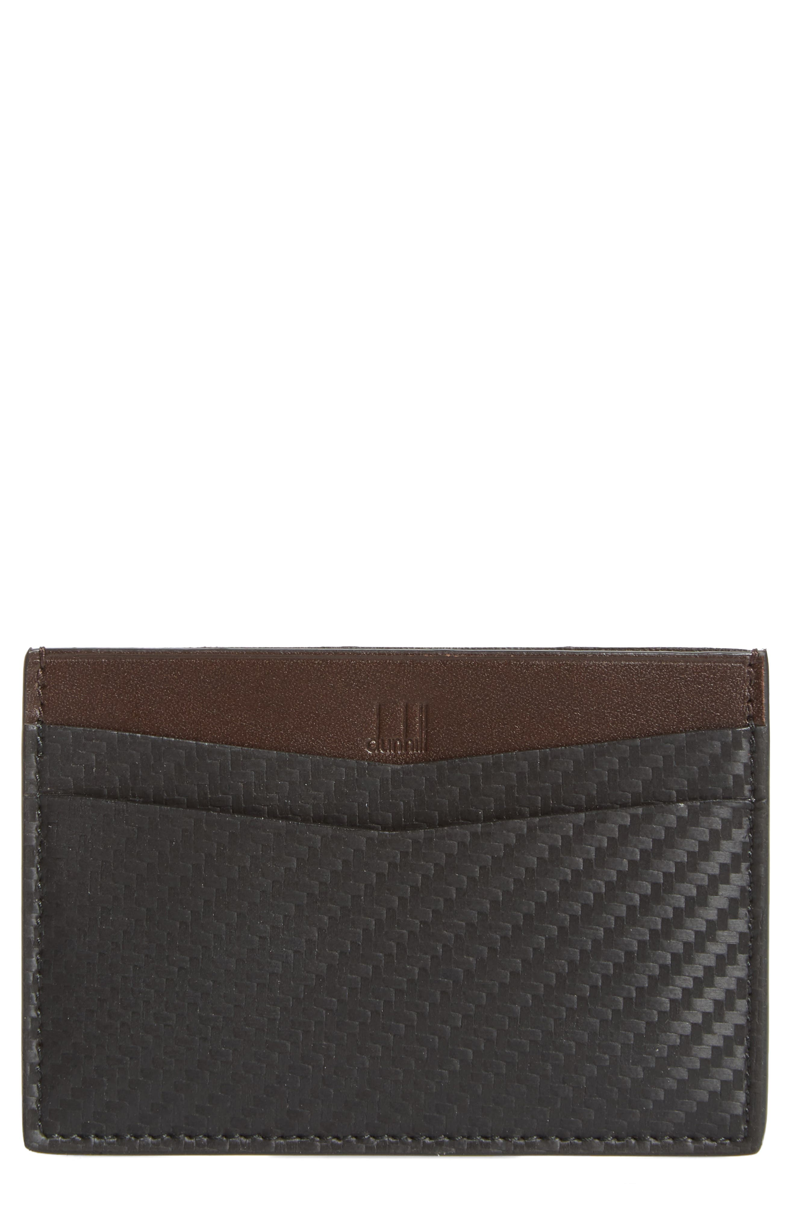 Chassis Leather Card Case,                         Main,                         color, Black