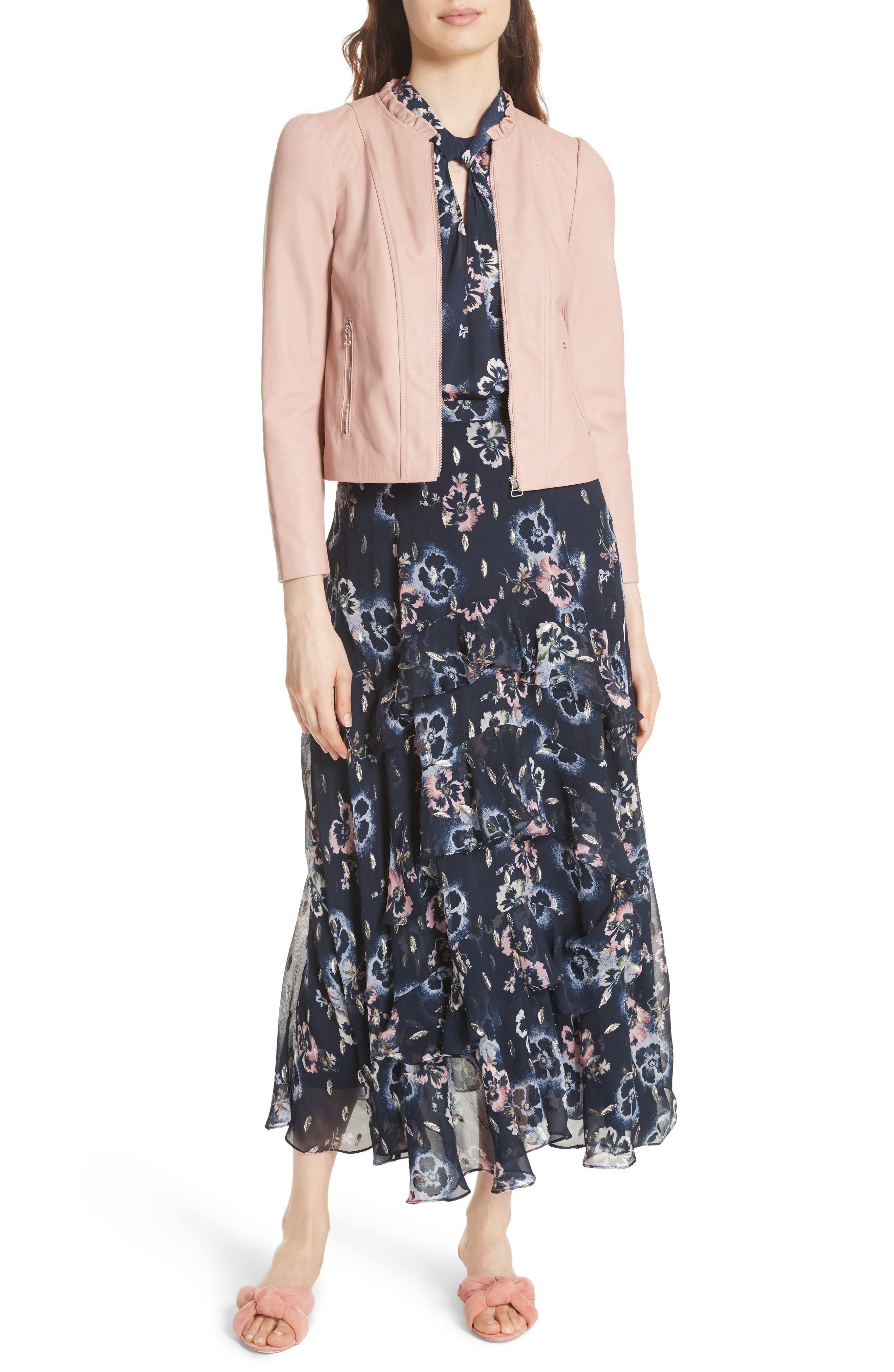 Faded Floral Midi Skirt,                             Alternate thumbnail 7, color,                             Navy