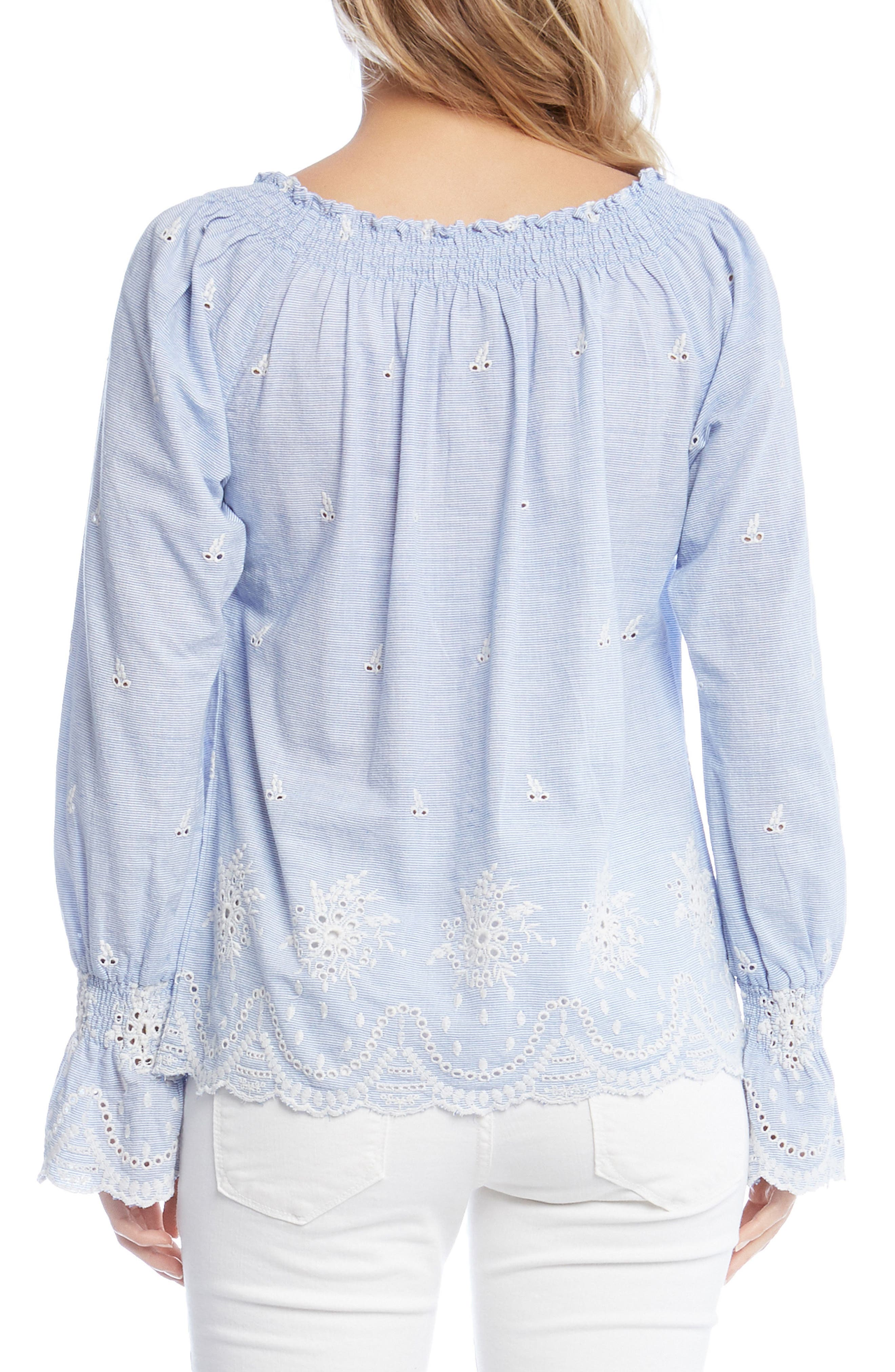 Bell Sleeve Embroidered Cotton Peasant Blouse,                             Alternate thumbnail 2, color,                             Striped
