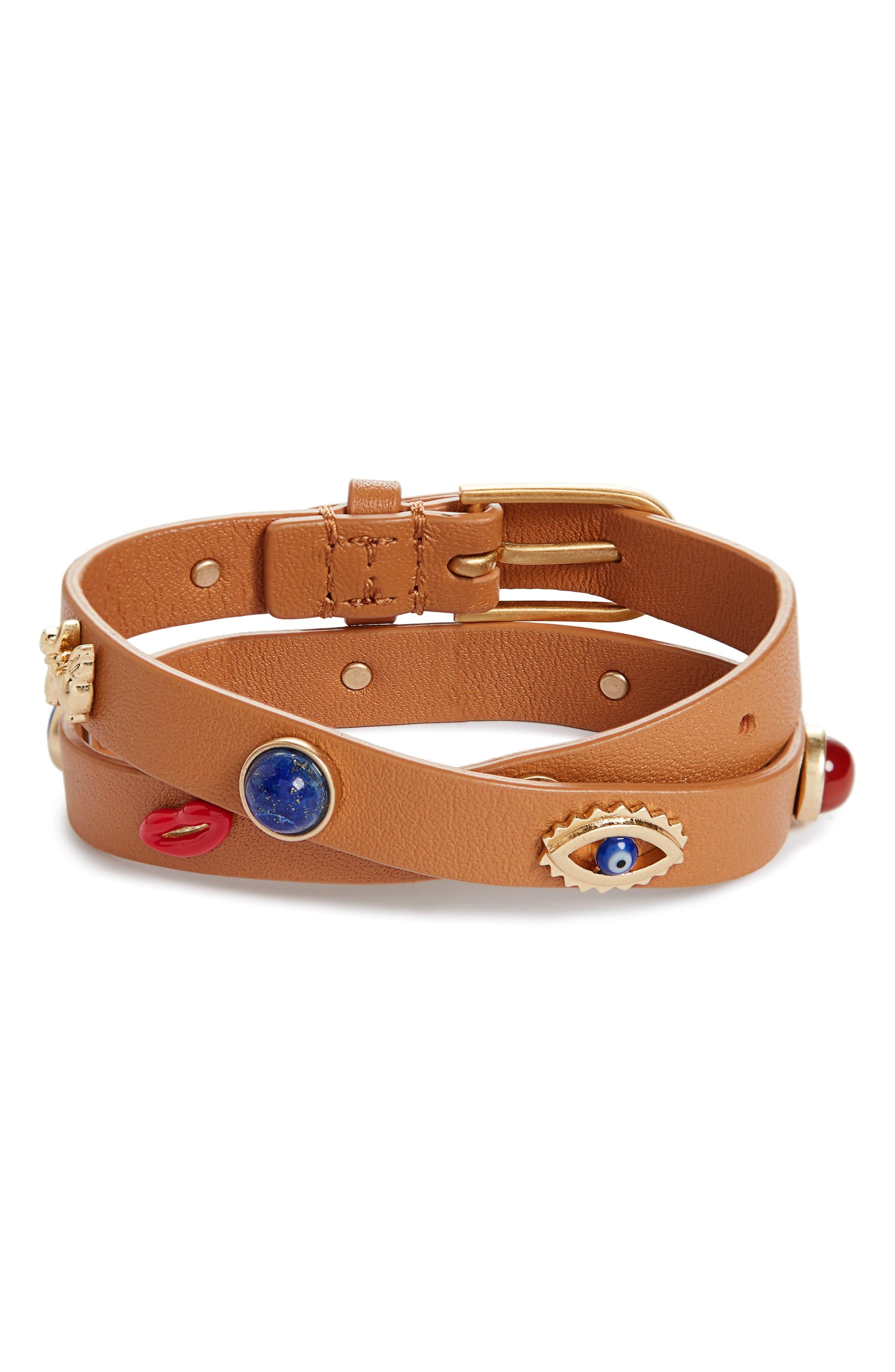 Crazy Charms Double Wrap Bracelet,                         Main,                         color, Vachetta