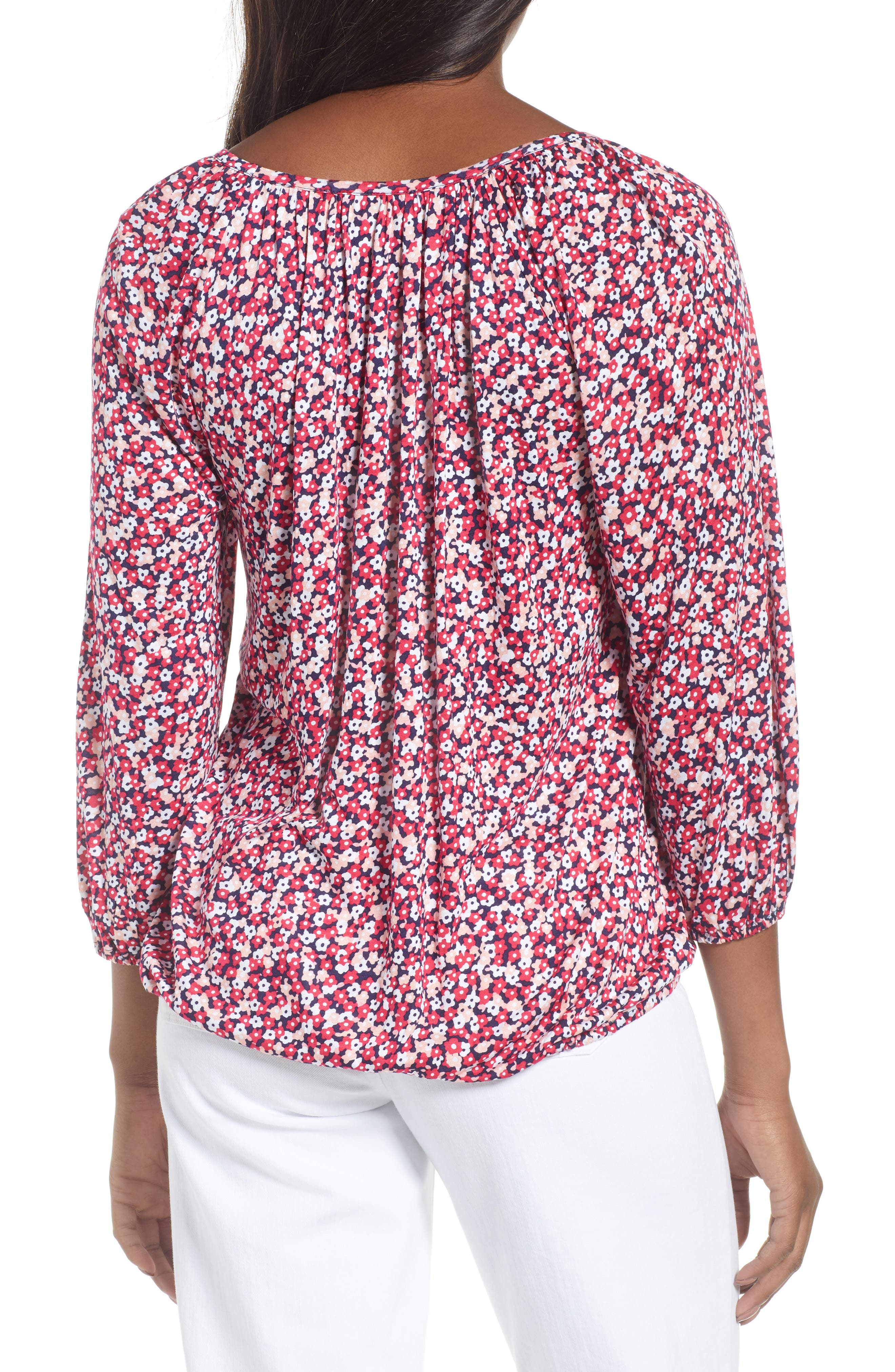 Collage Floral Print Peasant Top,                             Alternate thumbnail 2, color,                             True Navy/ Bright Blush