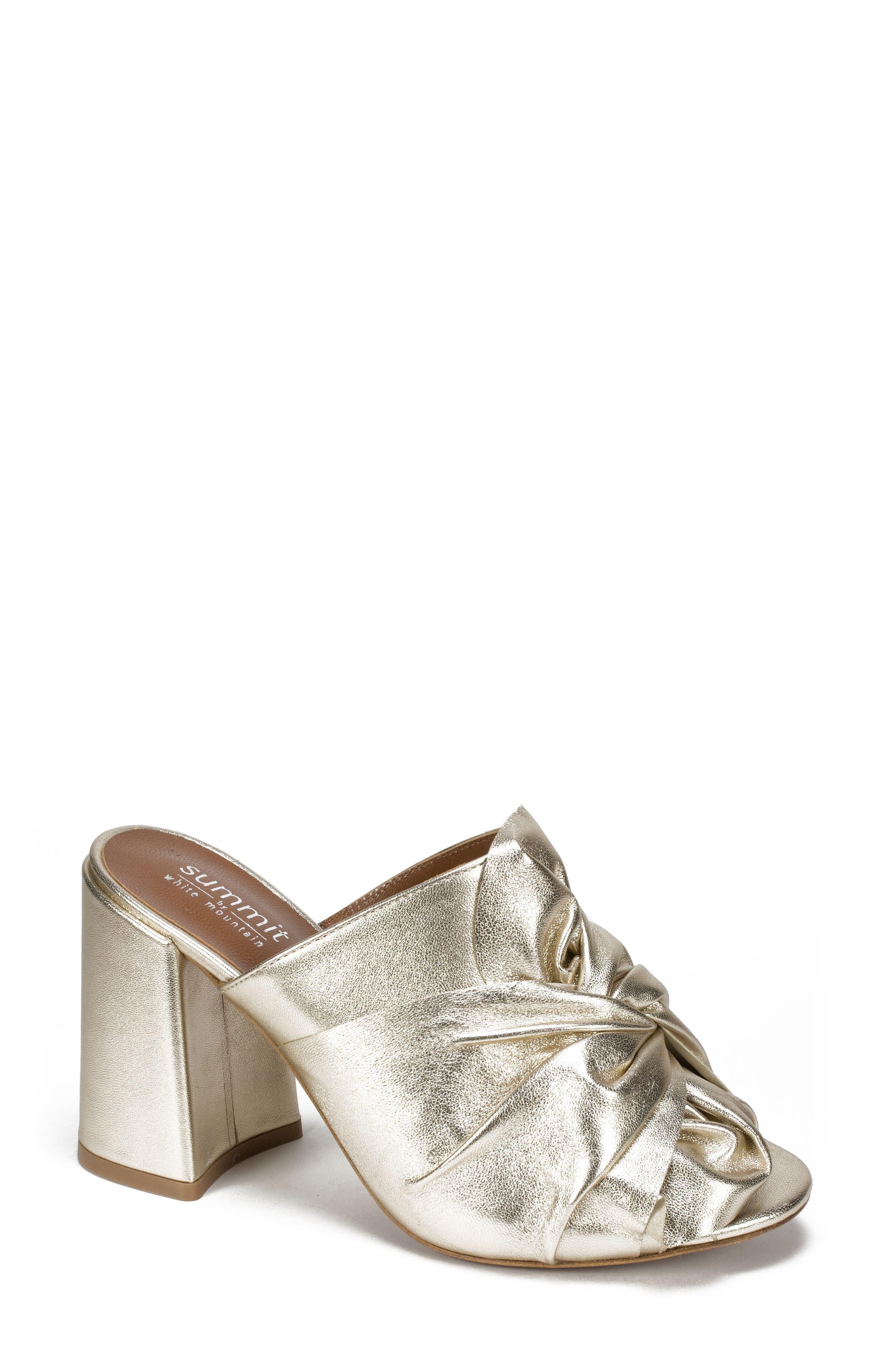 Anya Block Heel Mule,                         Main,                         color, Platinum Leather