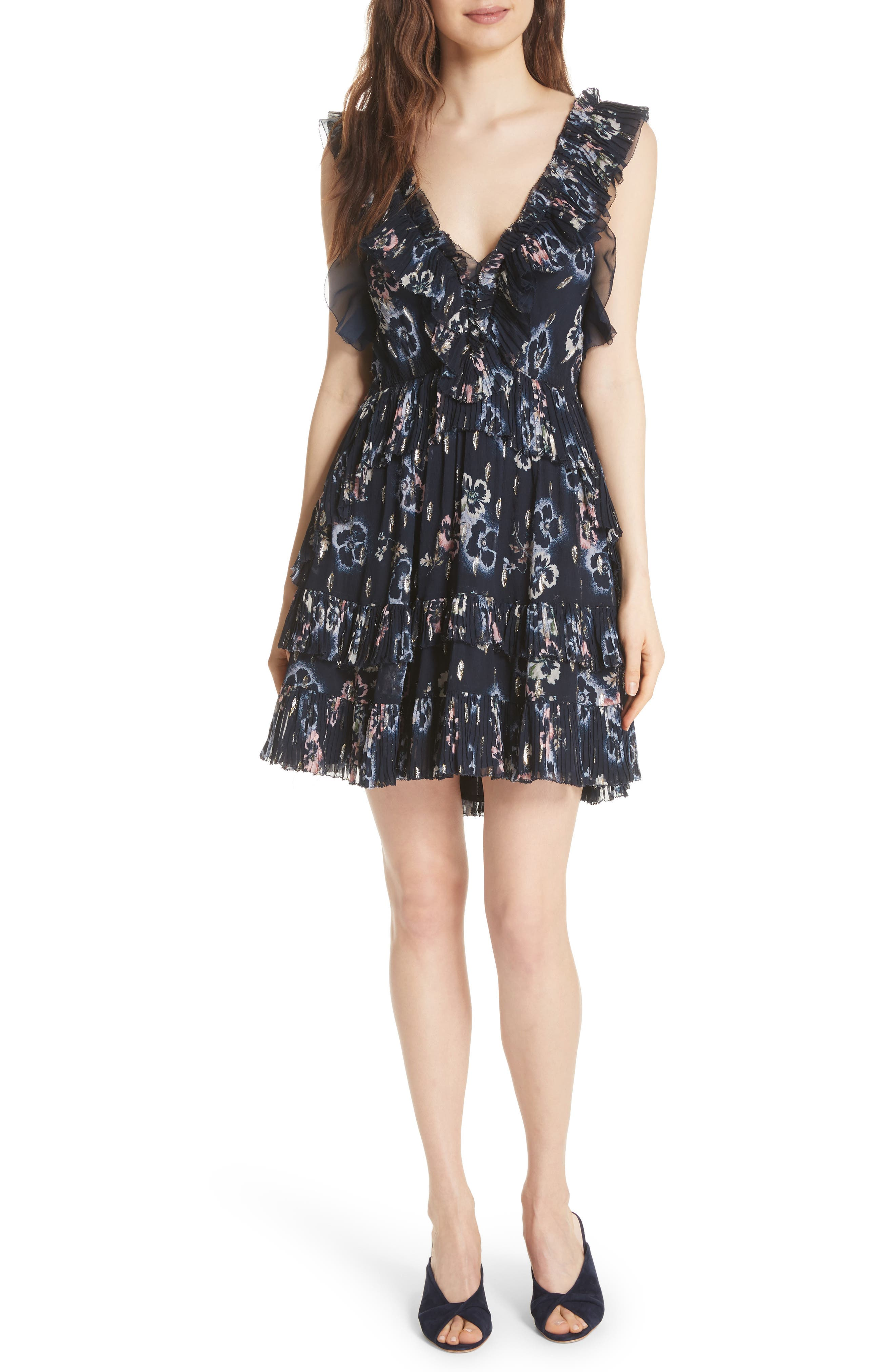 Faded Floral Fit & Flare Dress,                         Main,                         color, Navy