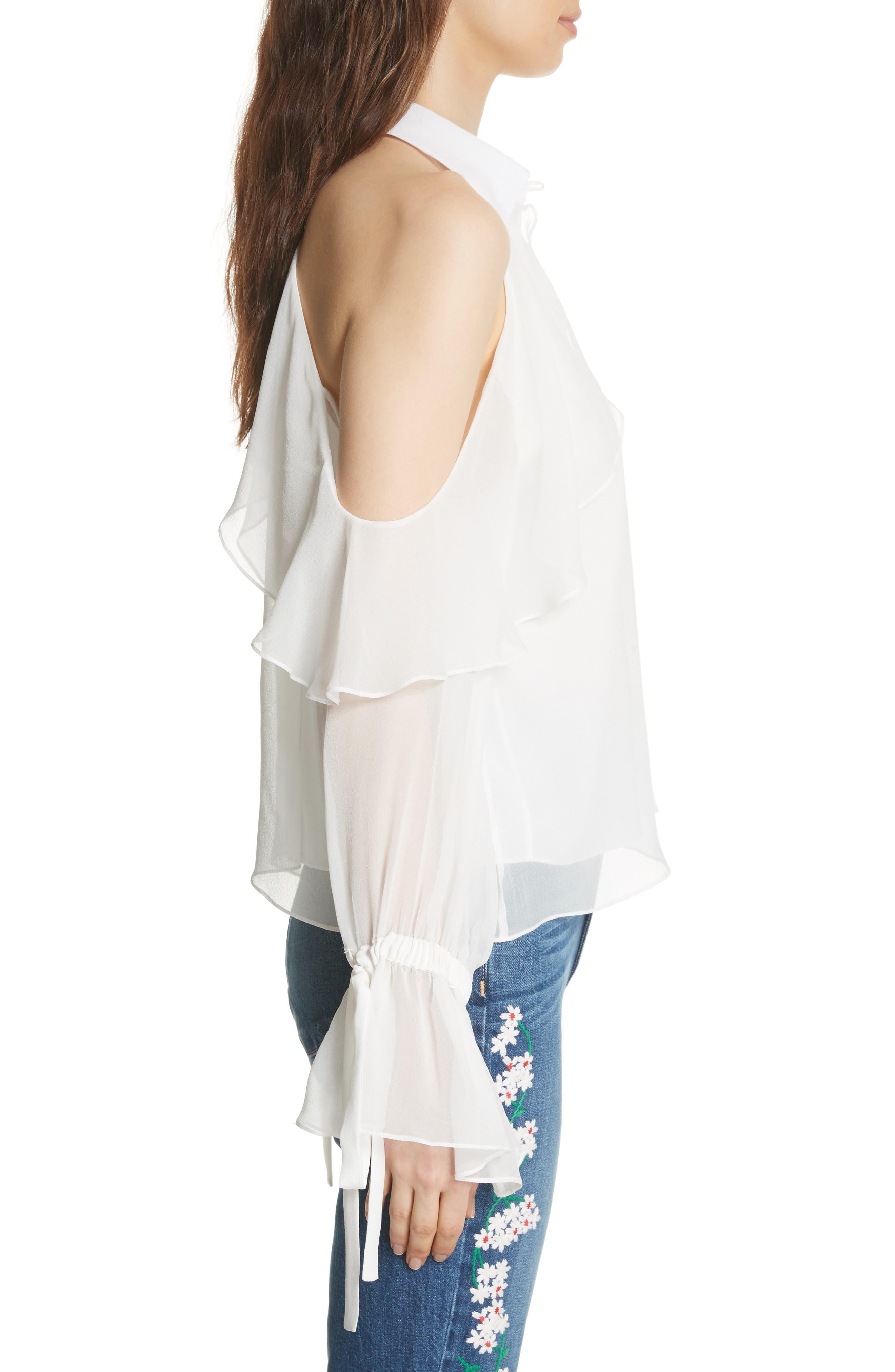 Blayne Cold Shoulder Silk Blouse,                             Alternate thumbnail 3, color,                             Off White