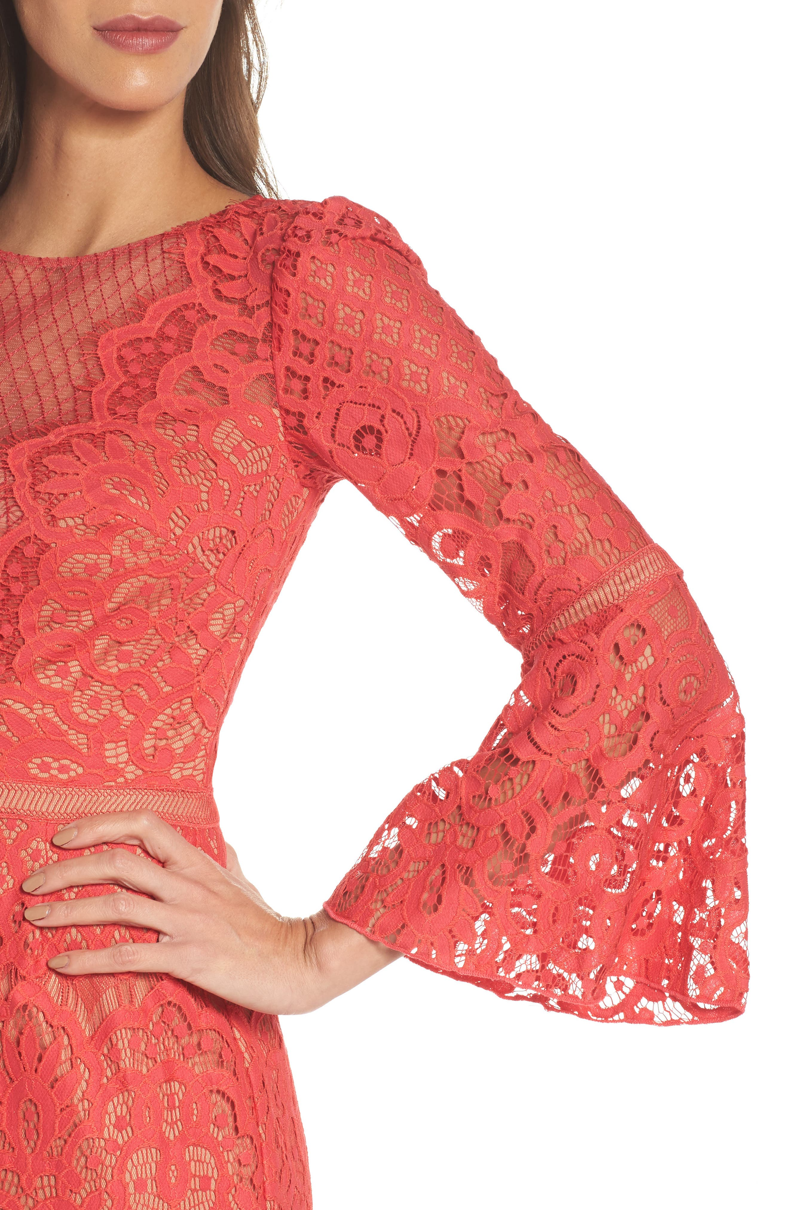 Kyra Bell Sleeve Lace Dress,                             Alternate thumbnail 4, color,                             Red/ Jasper
