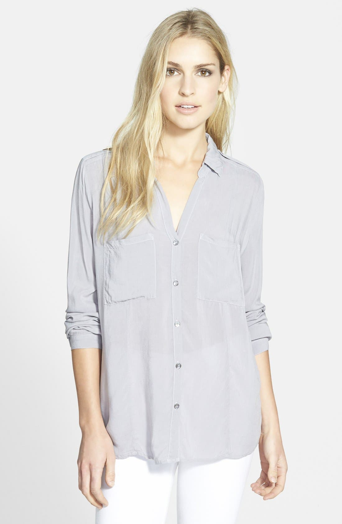 Button Down Challis Shirt,                             Main thumbnail 1, color,                             Grey