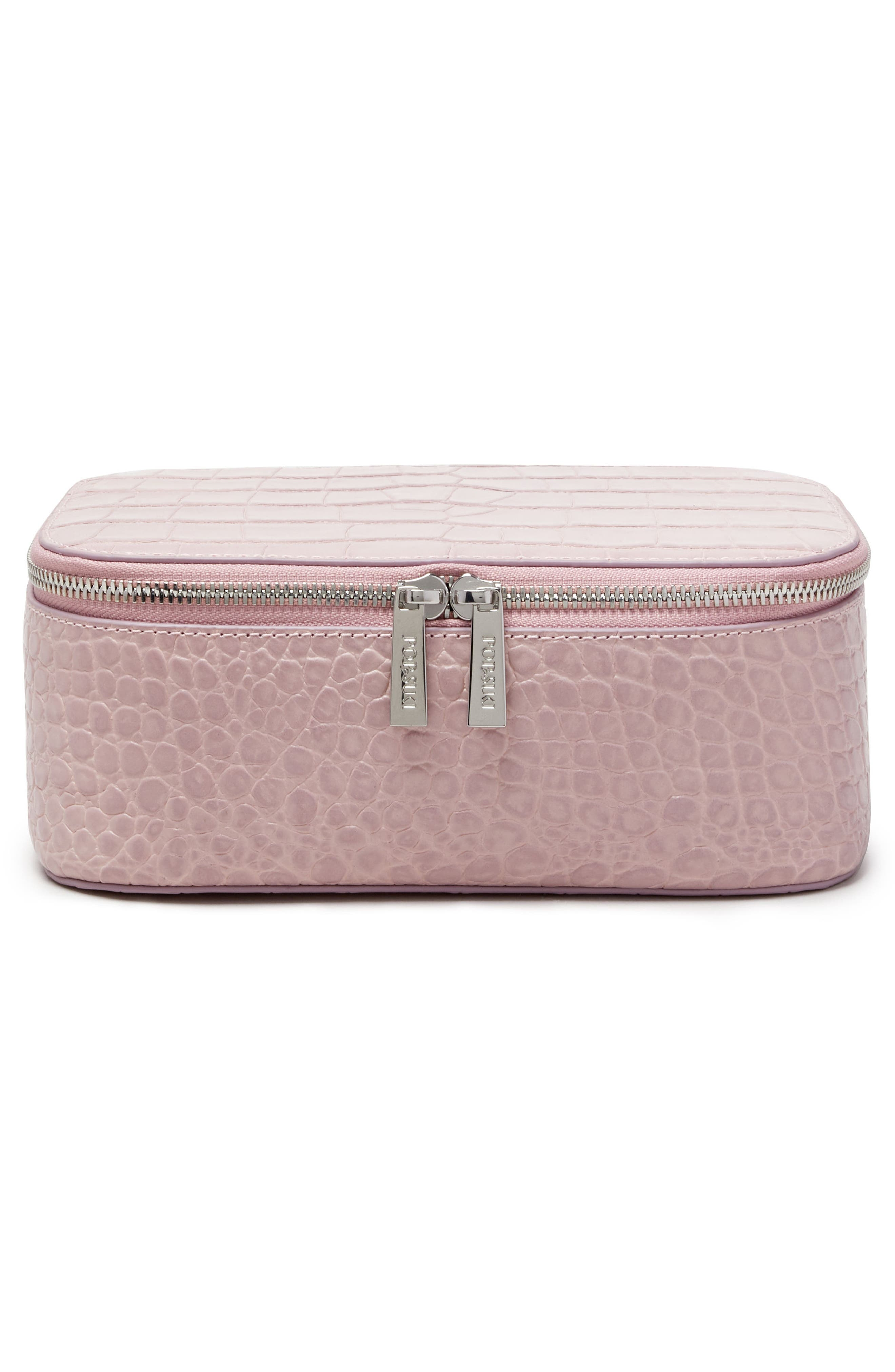Croc Embossed Bigger Makeup Bag,                             Alternate thumbnail 3, color,                             Mauve