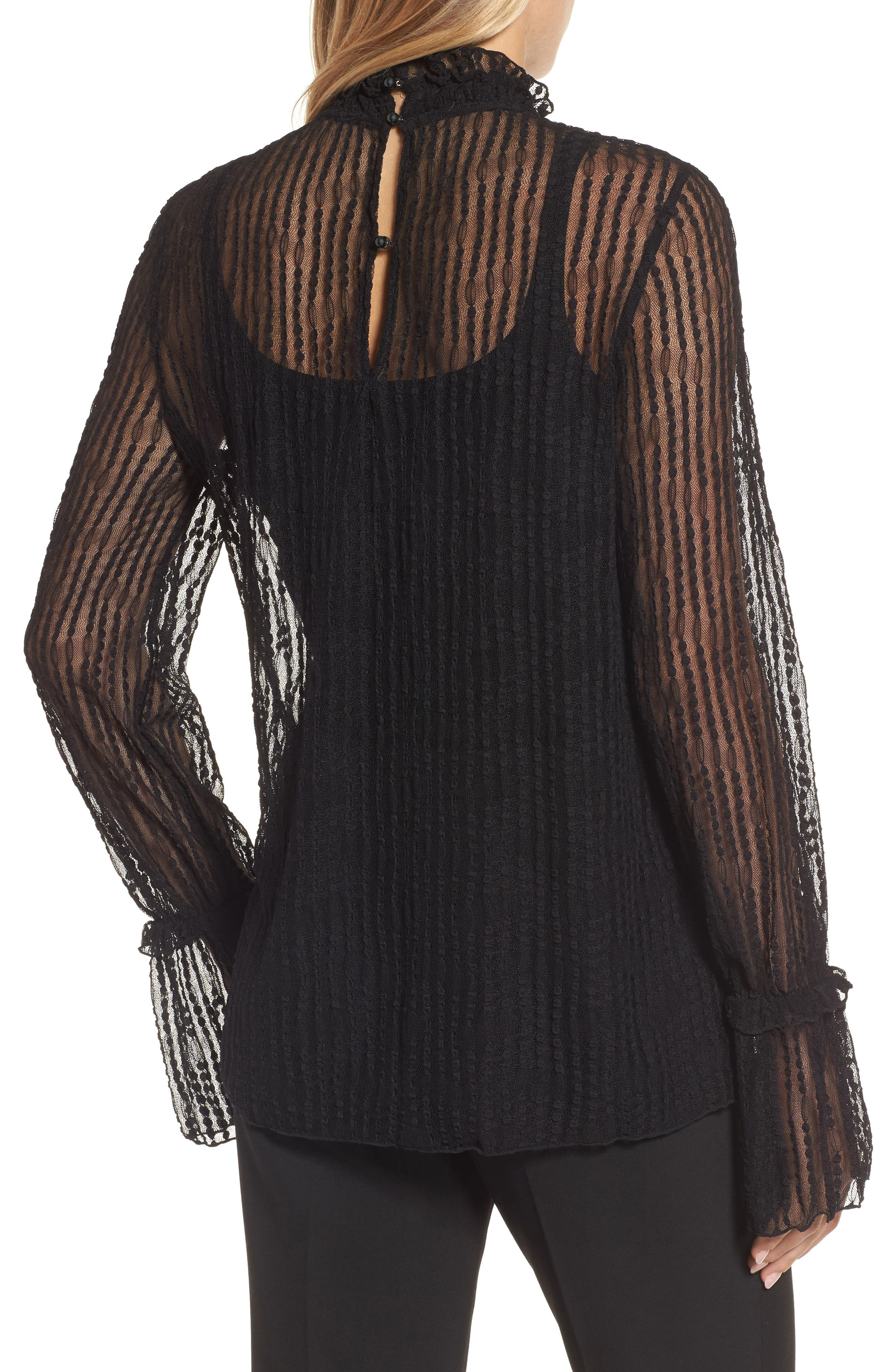 Bell Sleeve Stretch Lace Blouse,                             Alternate thumbnail 2, color,                             Black