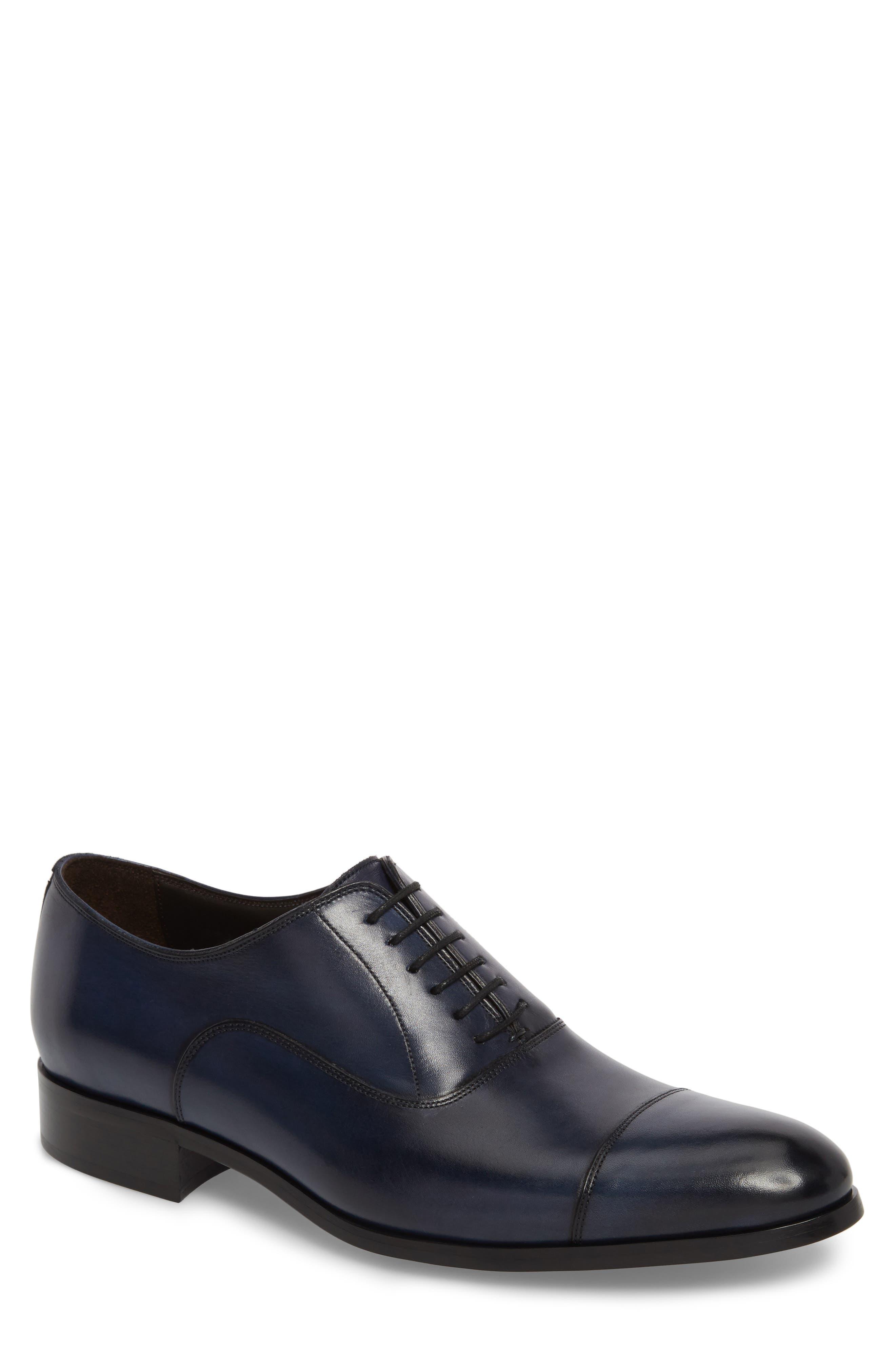 Hartcourt Cap Toe Oxford,                             Main thumbnail 1, color,                             Blue Leather