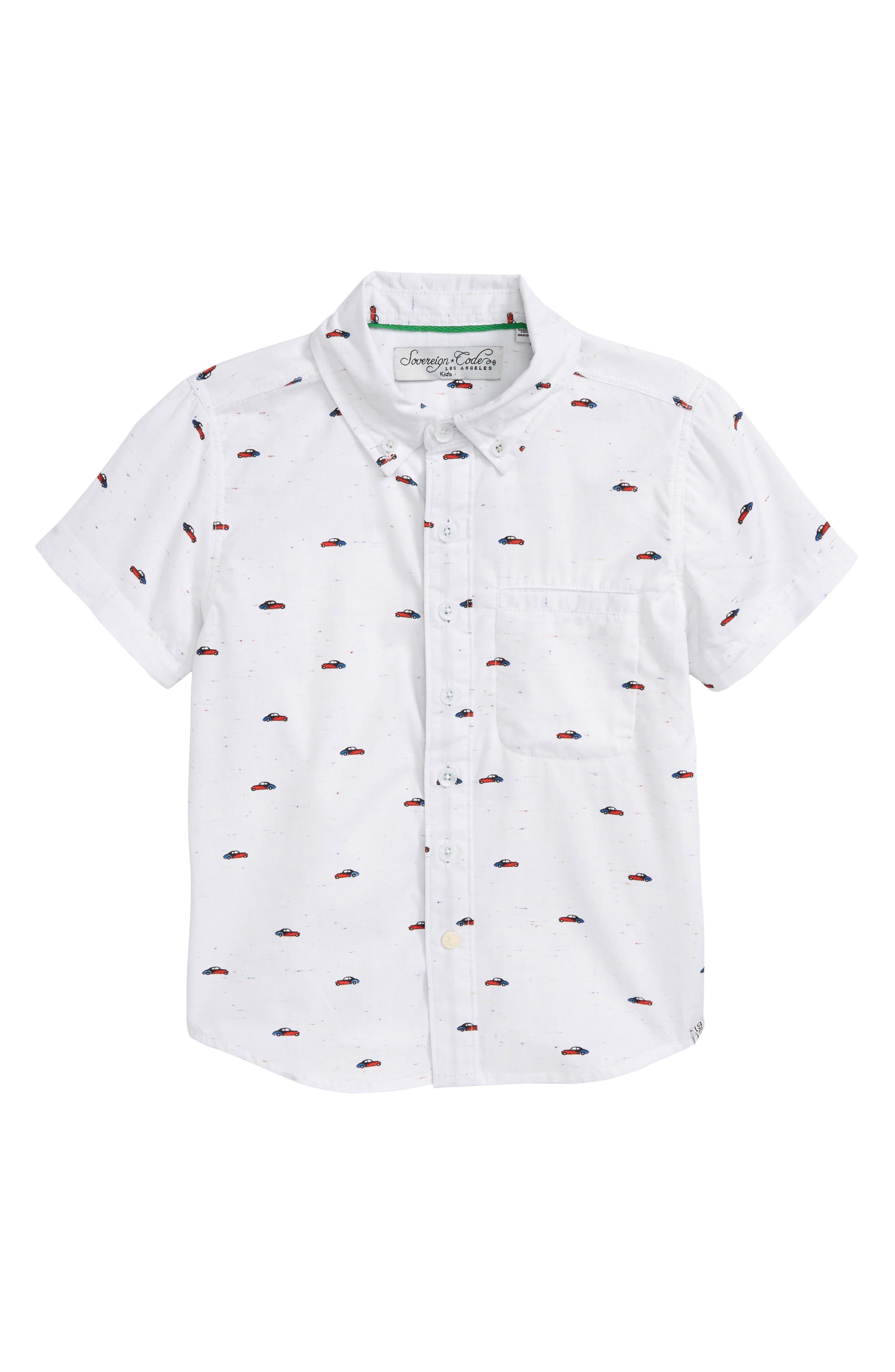 Car Print Woven Shirt,                         Main,                         color, Grey