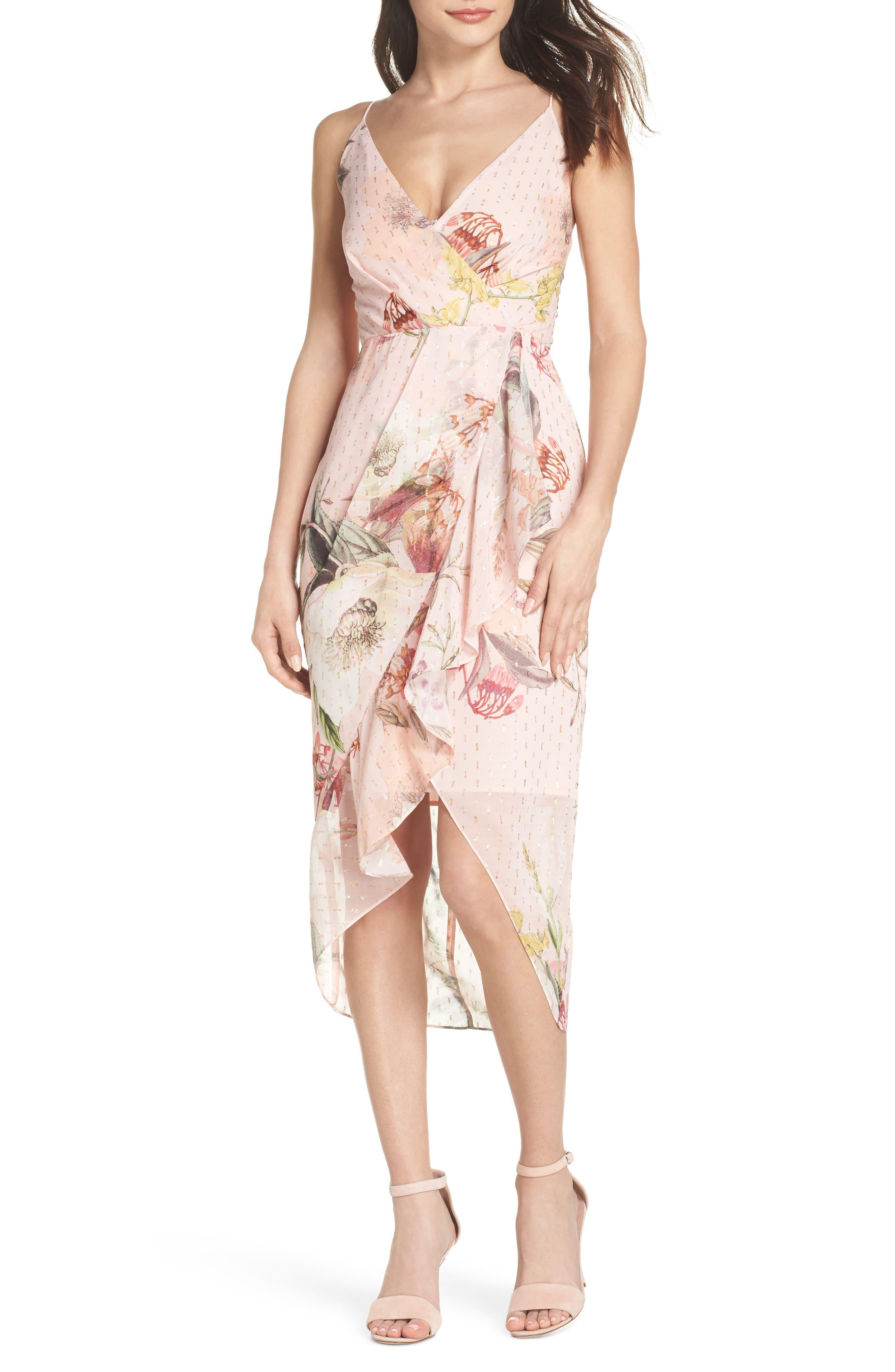 Flora Fade Drape Dress,                             Main thumbnail 1, color,                             Print