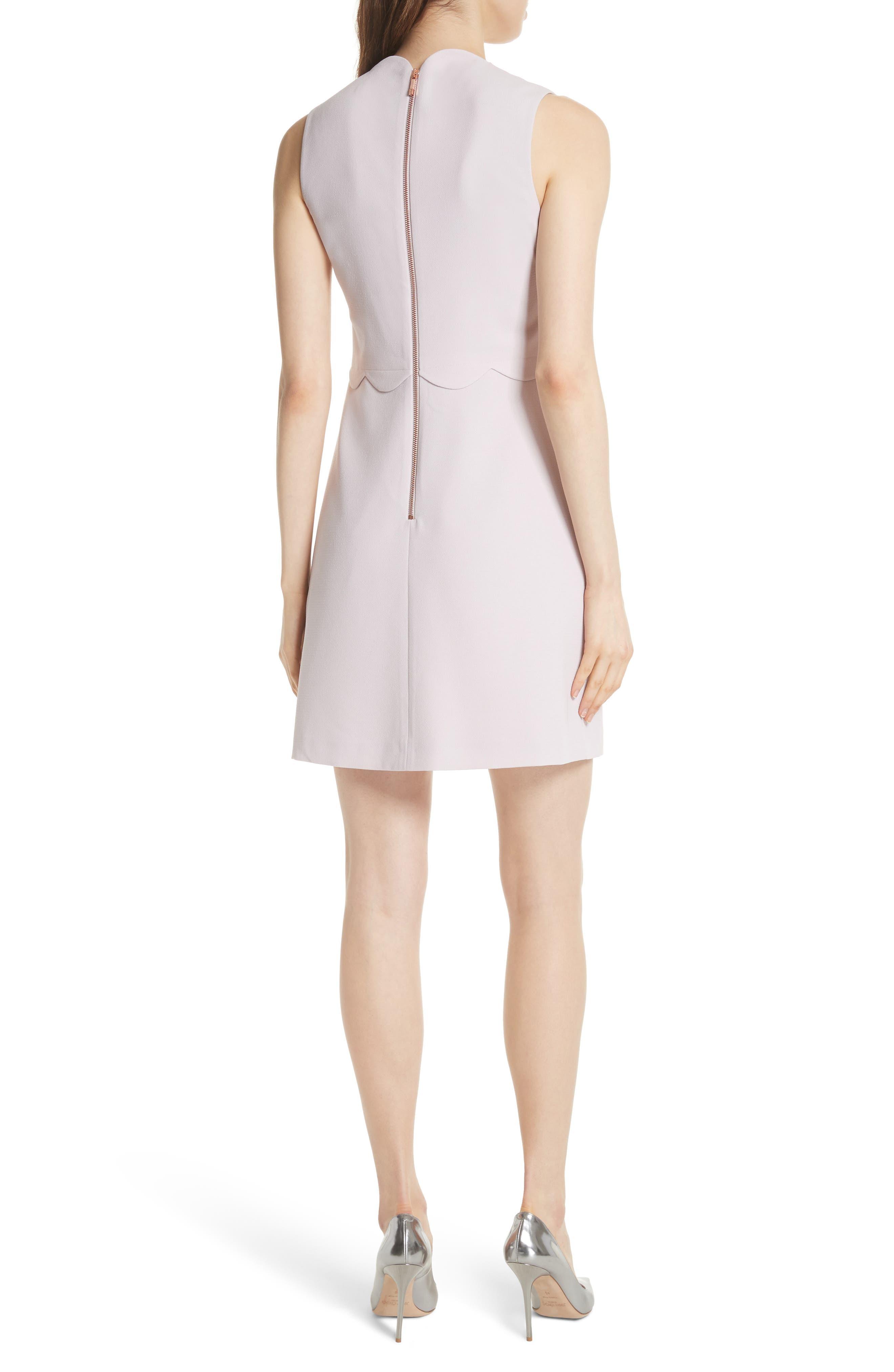 Scallop Edge Shift Dress,                             Alternate thumbnail 2, color,                             Dusky Pink