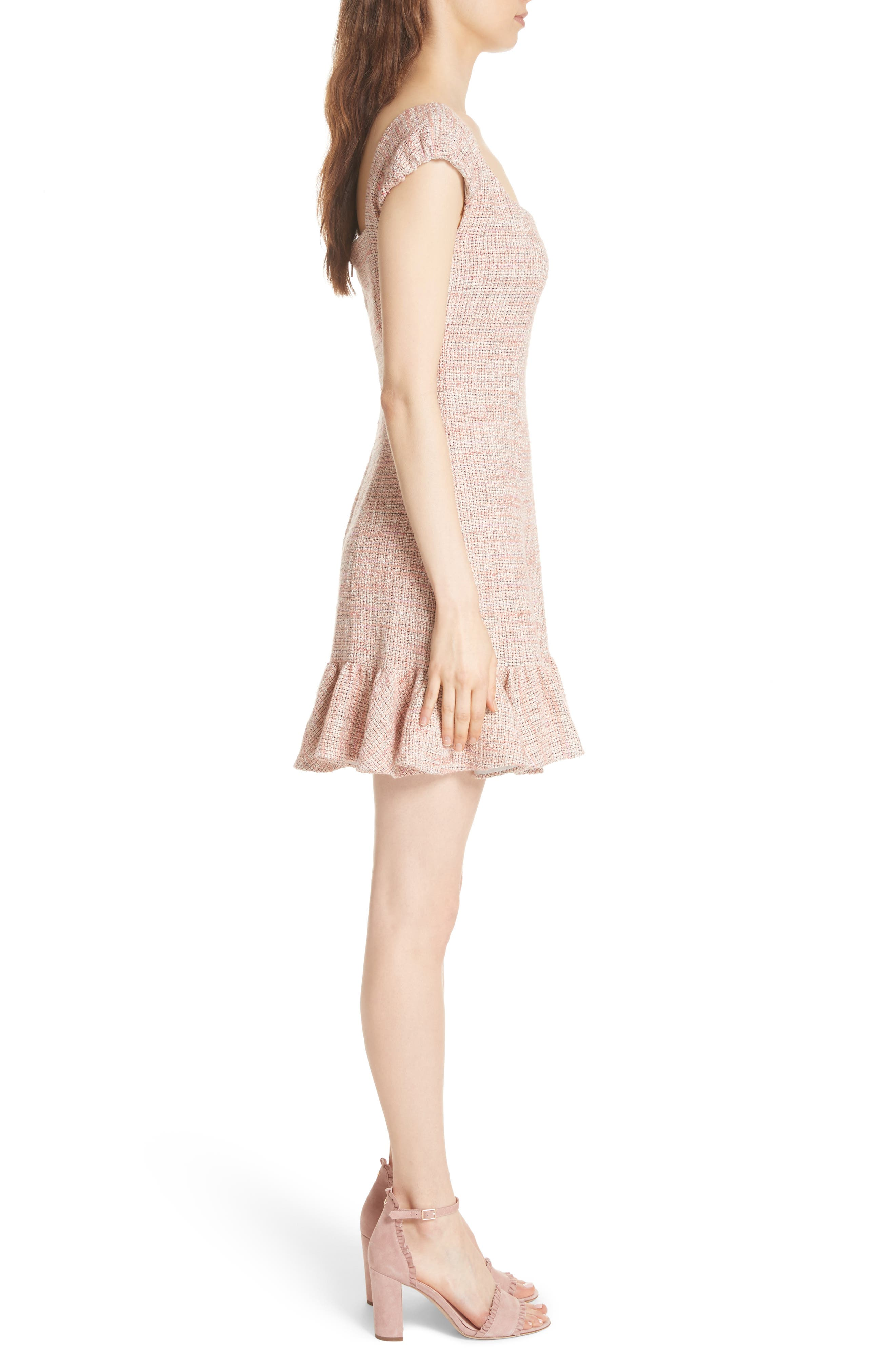 Cap Sleeve Tweed Dress,                             Alternate thumbnail 3, color,                             Rosy Nude Combo