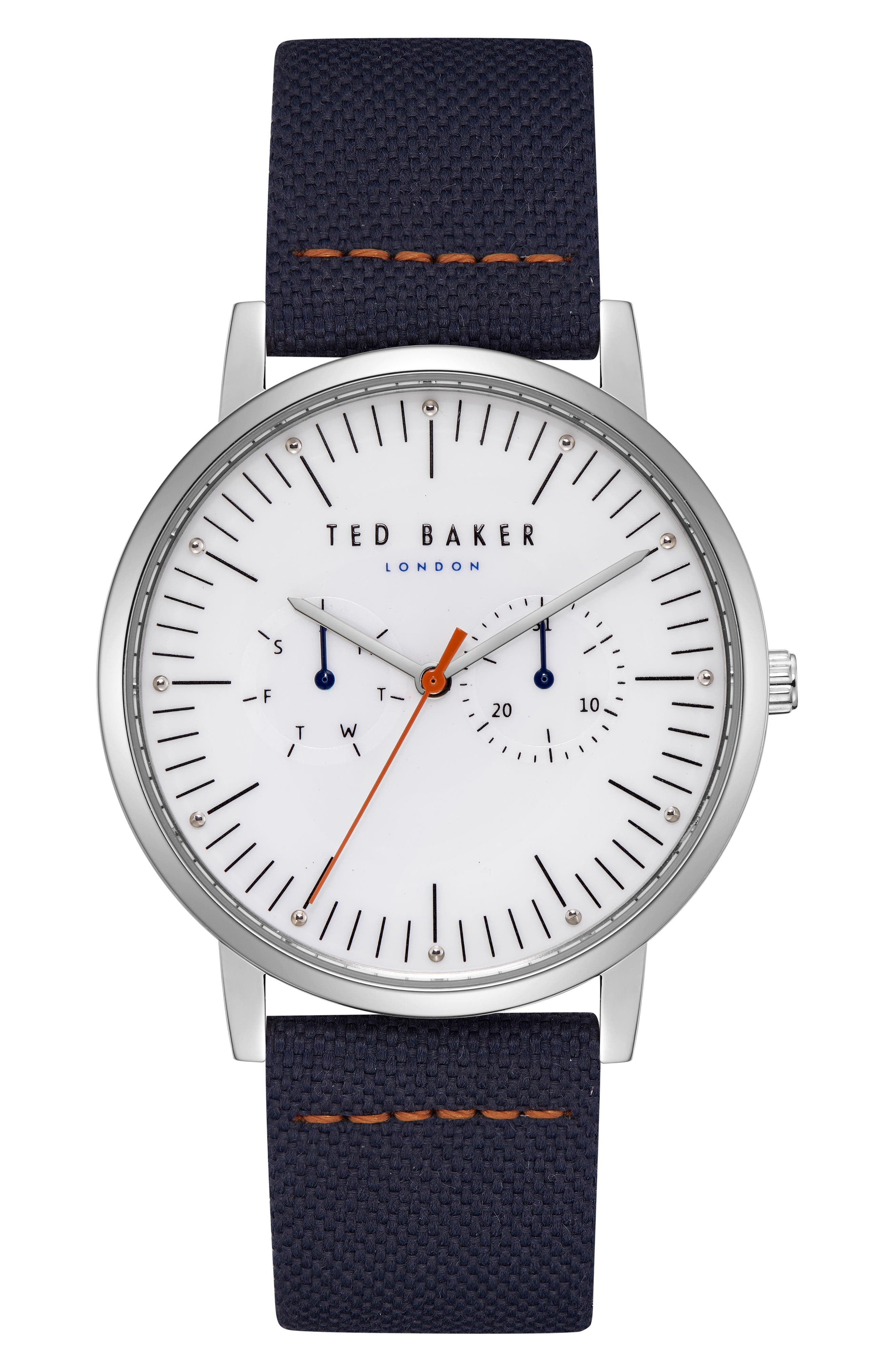Brit Multifunction Leather Strap Watch, 40mm,                             Main thumbnail 1, color,                             Silver/ Navy