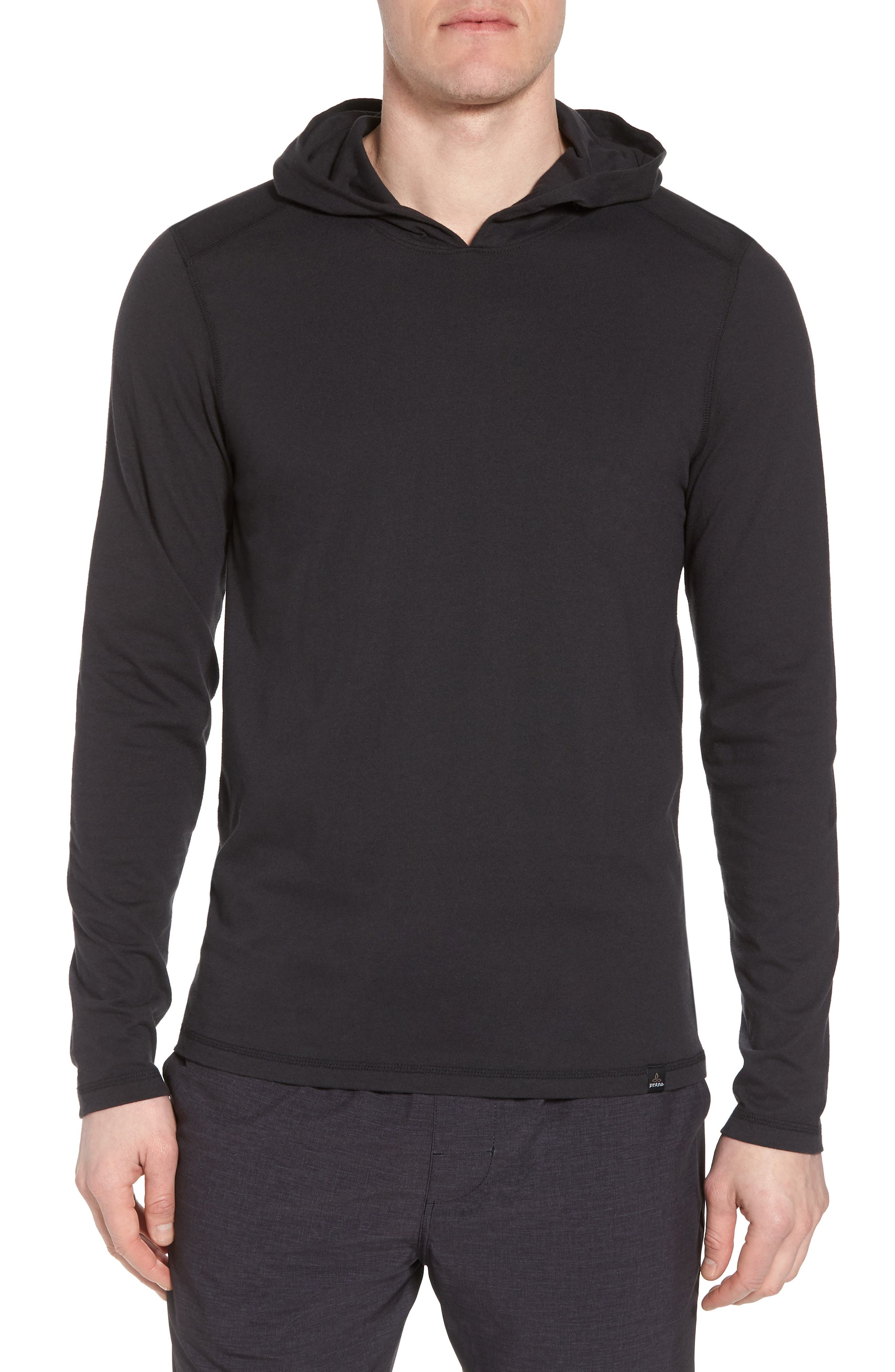 Cotton Blend Hoodie,                         Main,                         color, Black