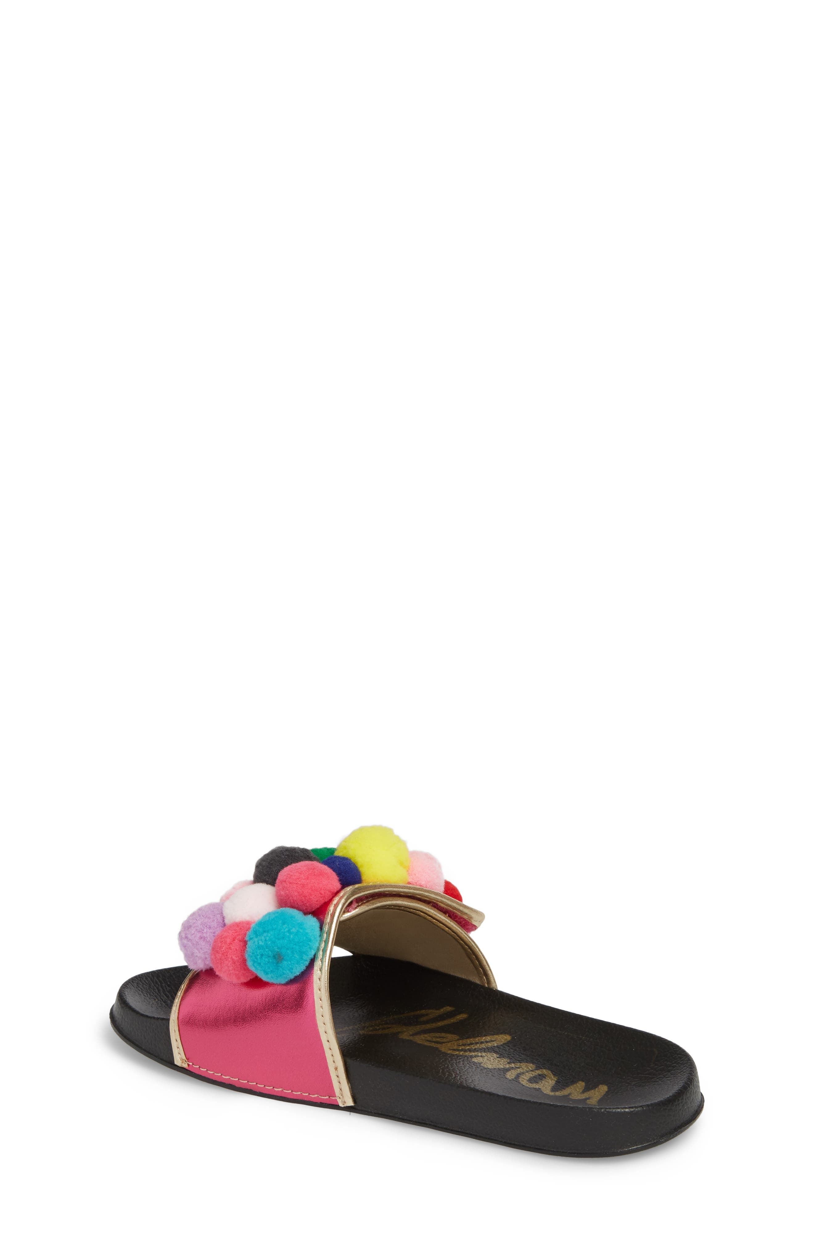 Faux Fur Mackie Cayman Sandal,                             Alternate thumbnail 2, color,                             Hot Pink Multi