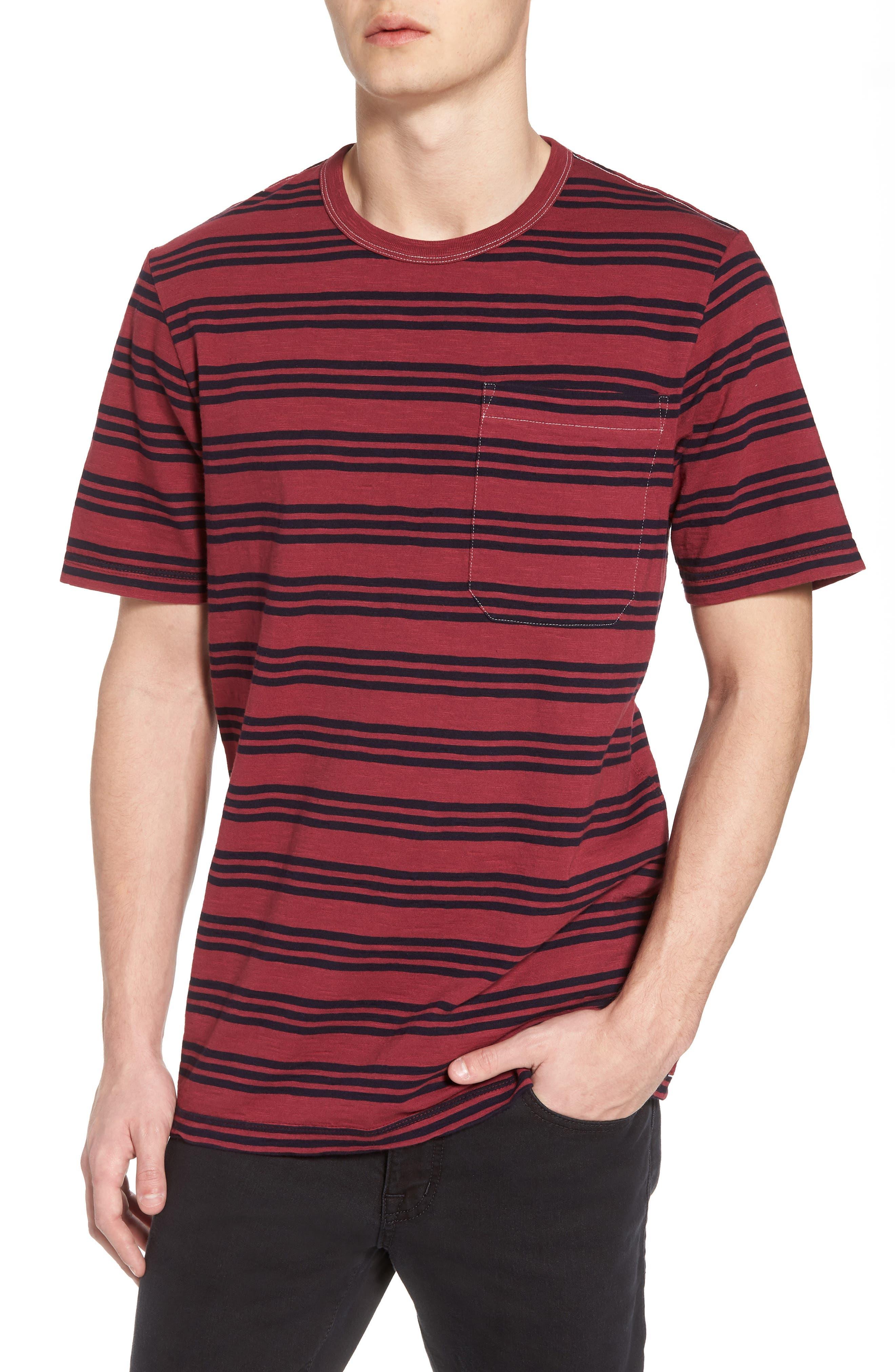 Triple Stripe Garment Dyed T-Shirt,                         Main,                         color, Cordovan