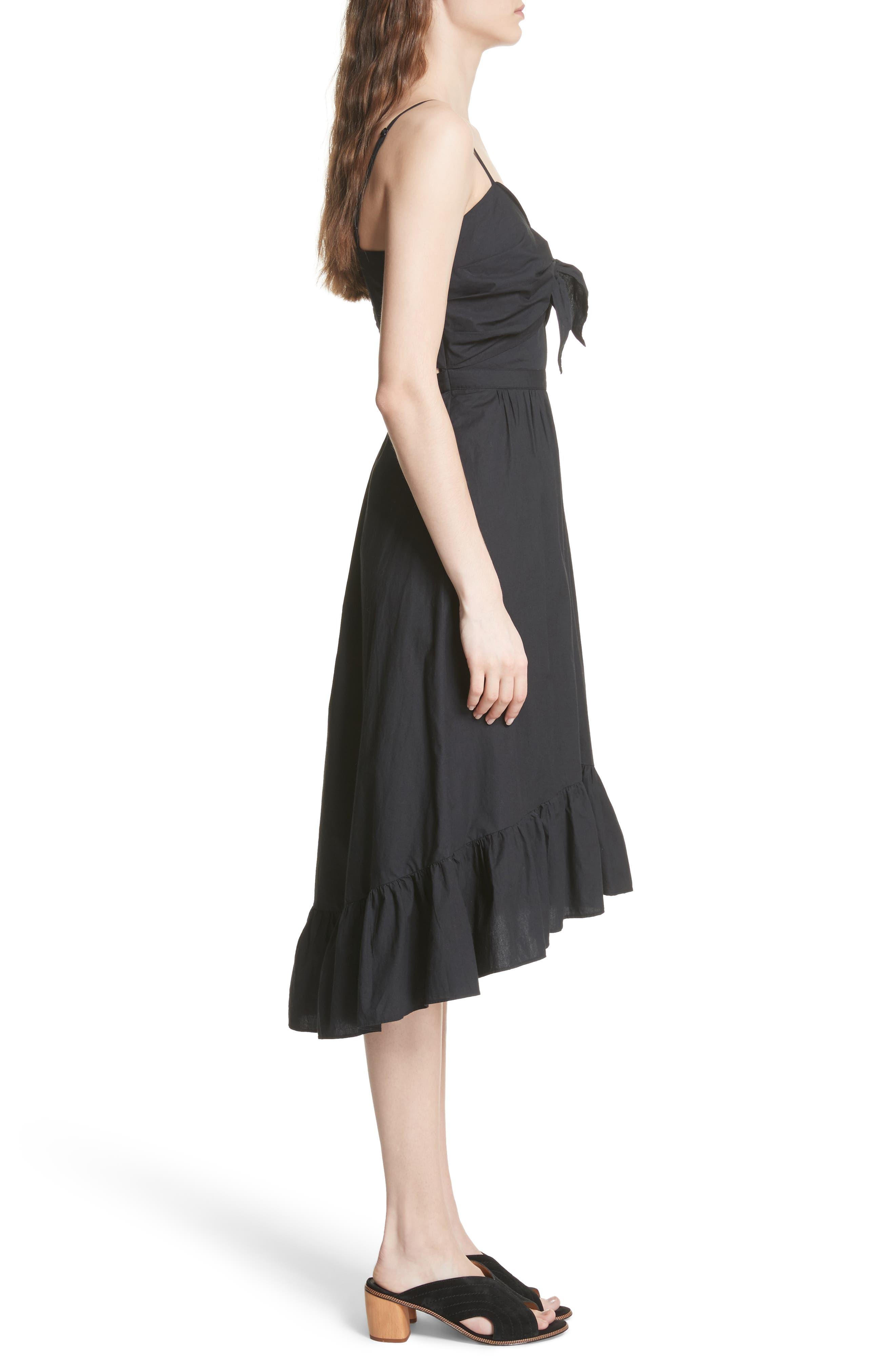 Clorinda Tie Front Cutout Cotton Dress,                             Alternate thumbnail 3, color,                             Caviar