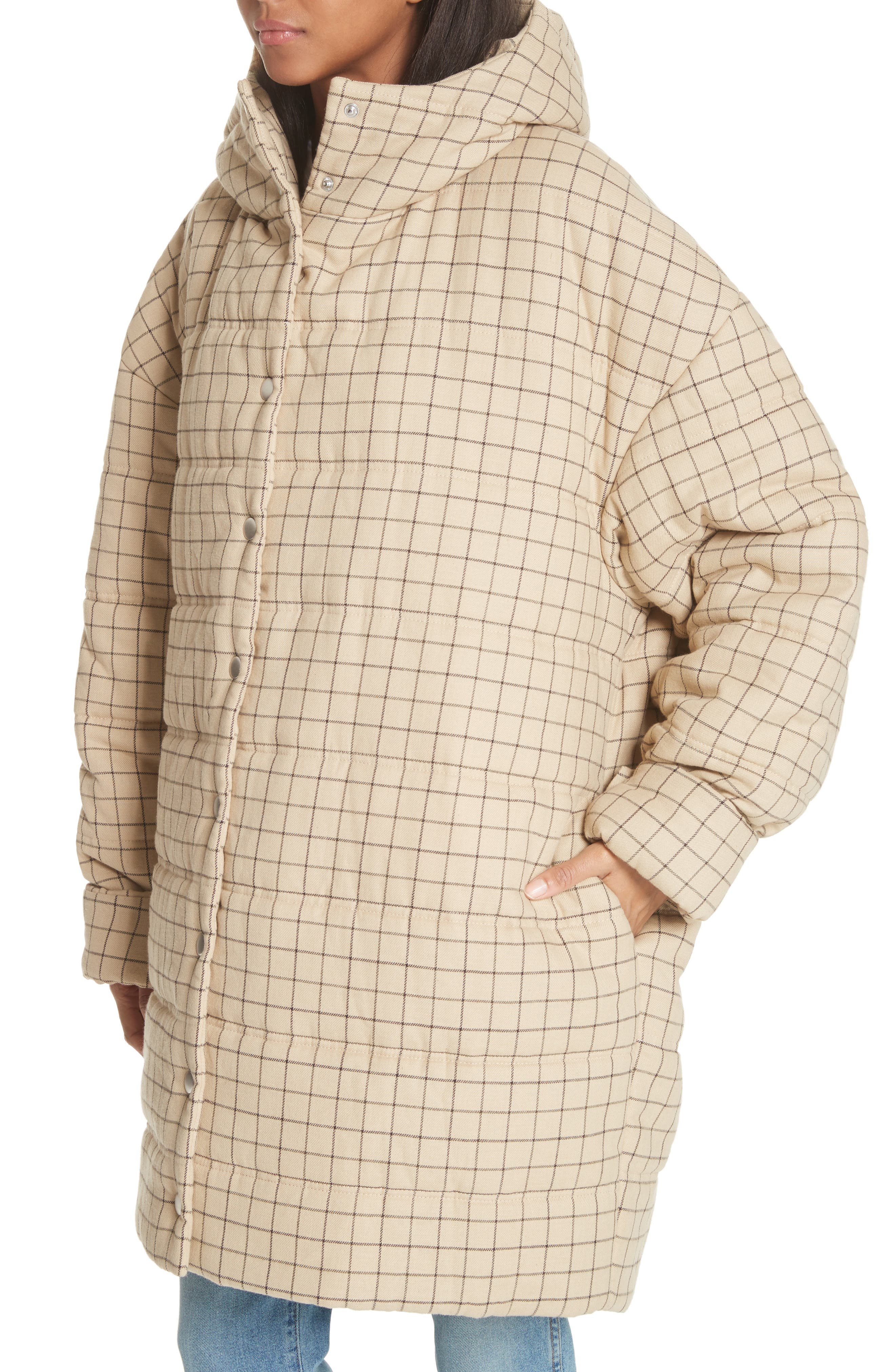 Check Puffer Coat,                             Alternate thumbnail 3, color,                             Beige Check