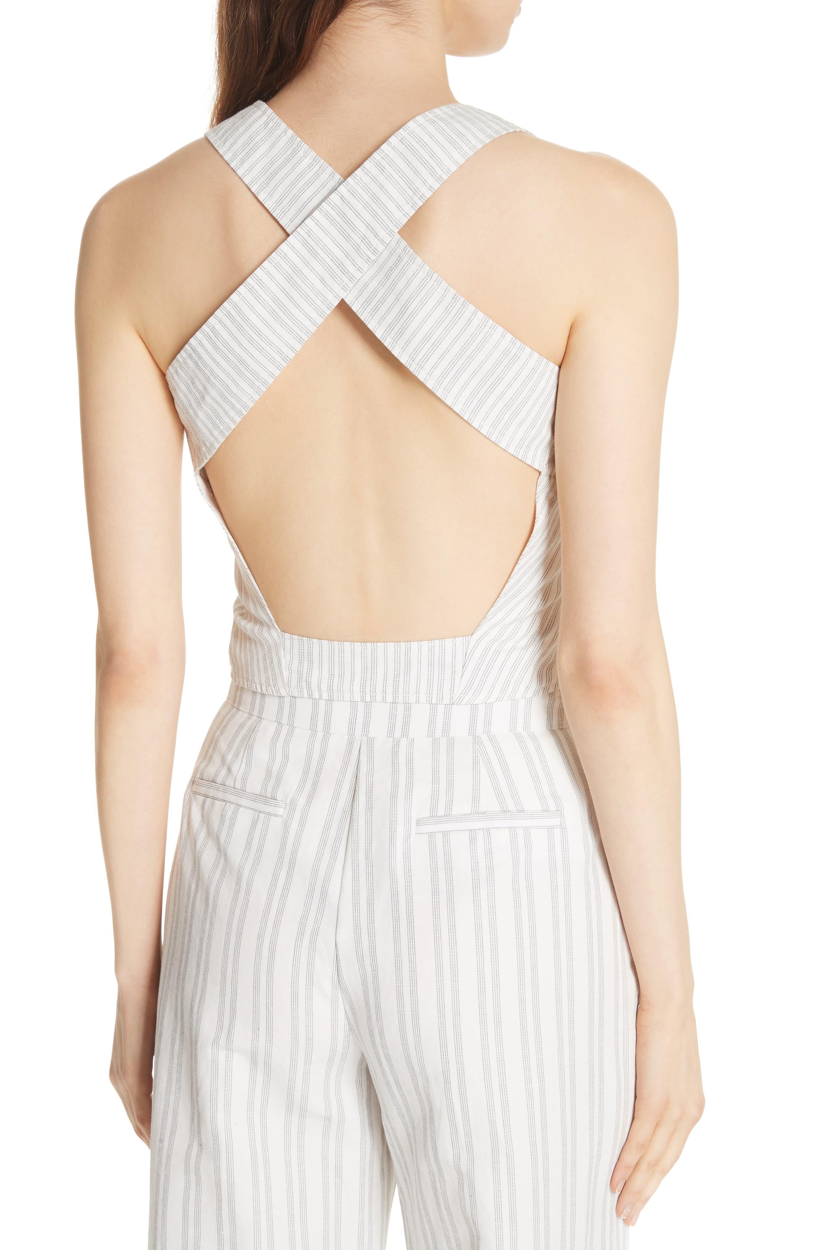 Crisscross Back Stripe Cotton Linen Top,                             Alternate thumbnail 2, color,                             Snow/ Black