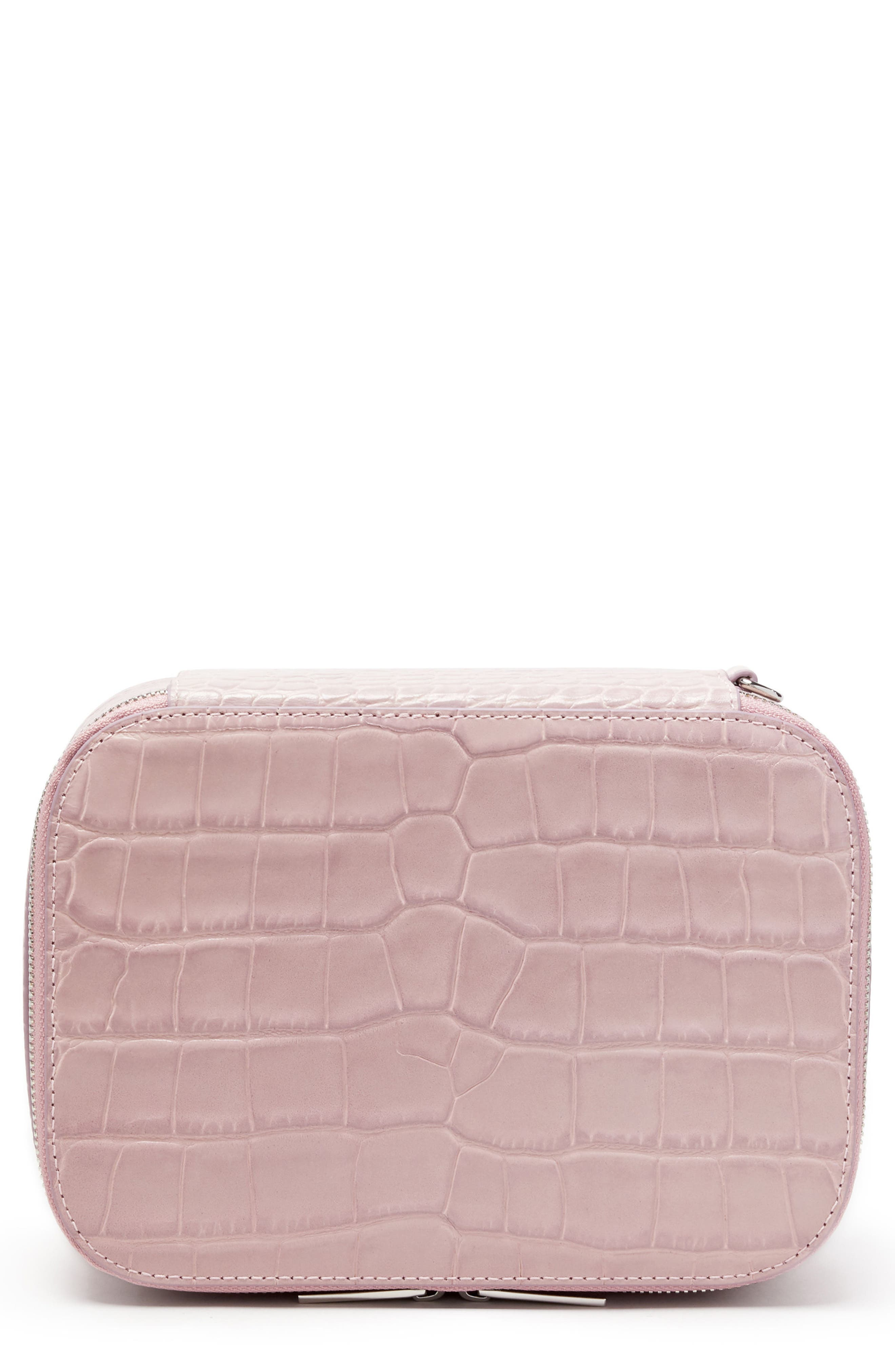 Croc Embossed Bigger Makeup Bag,                             Main thumbnail 1, color,                             Mauve