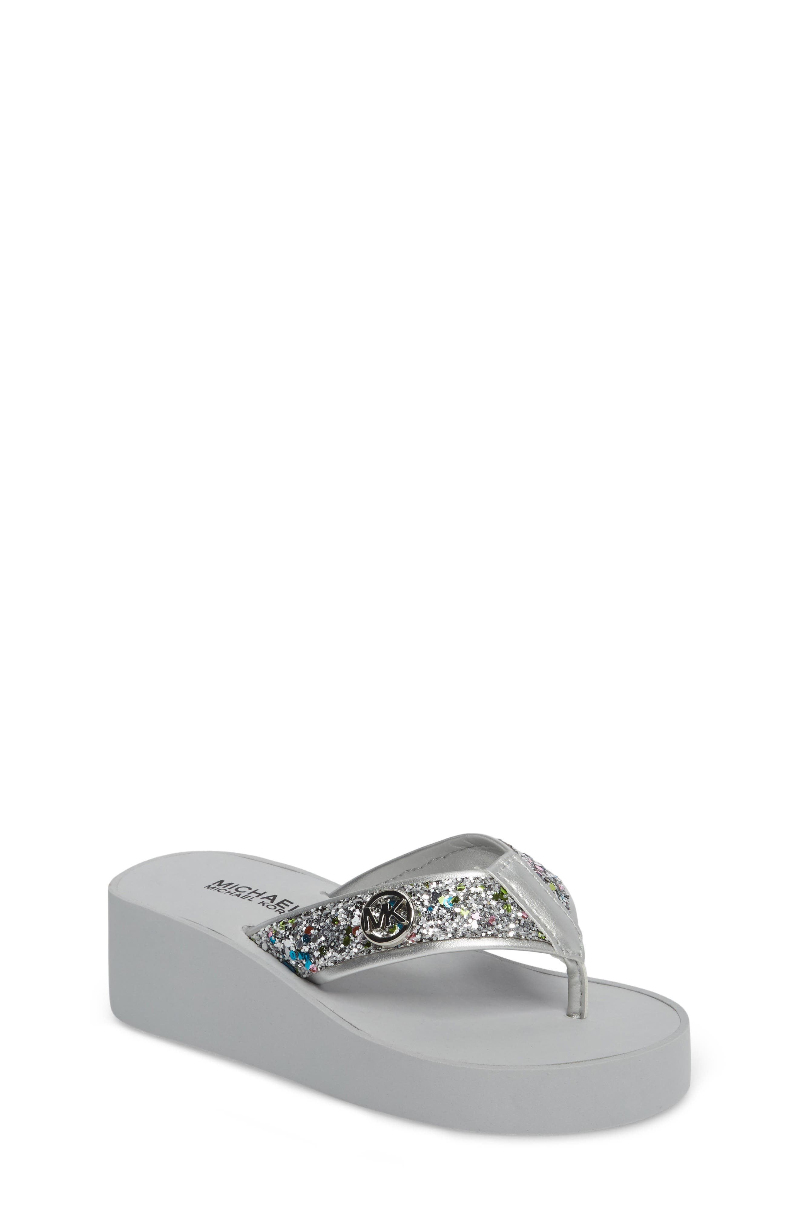 Glitter Wedge Flip Flop,                         Main,                         color, Silver Multi